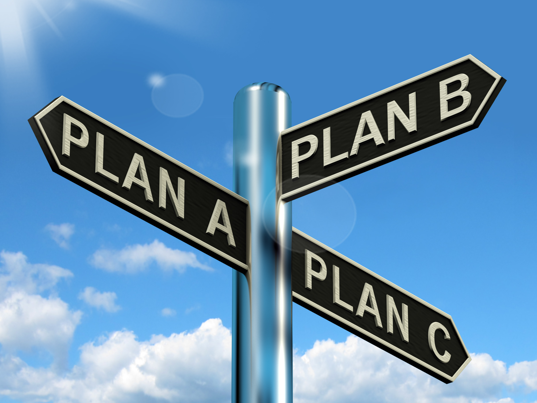 Plan a b or c choice showing strategy change or dilemma photo