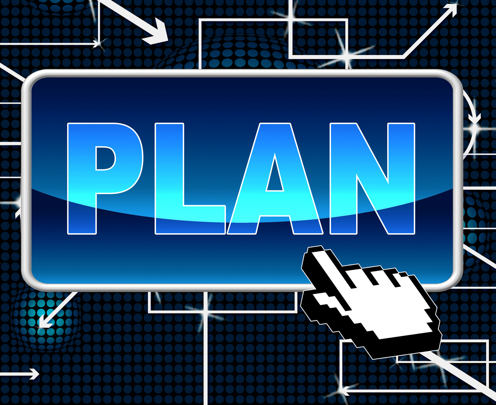 Plan button means project programme and web photo