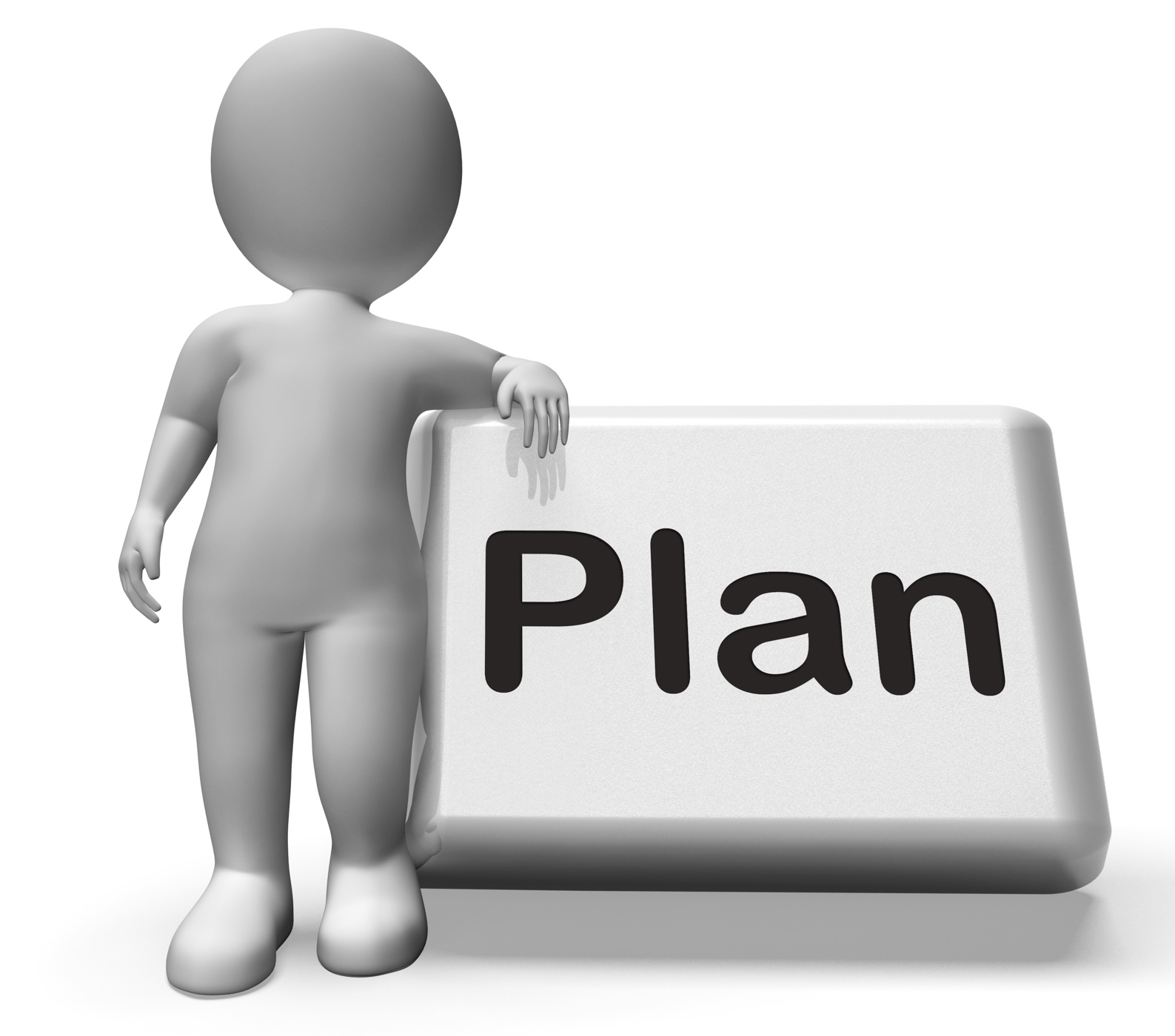 Plan button with character shows objectives planning and organizing photo