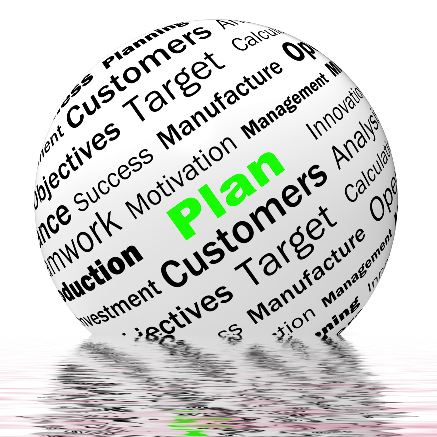 Plan sphere definition displays planning or objective managing photo
