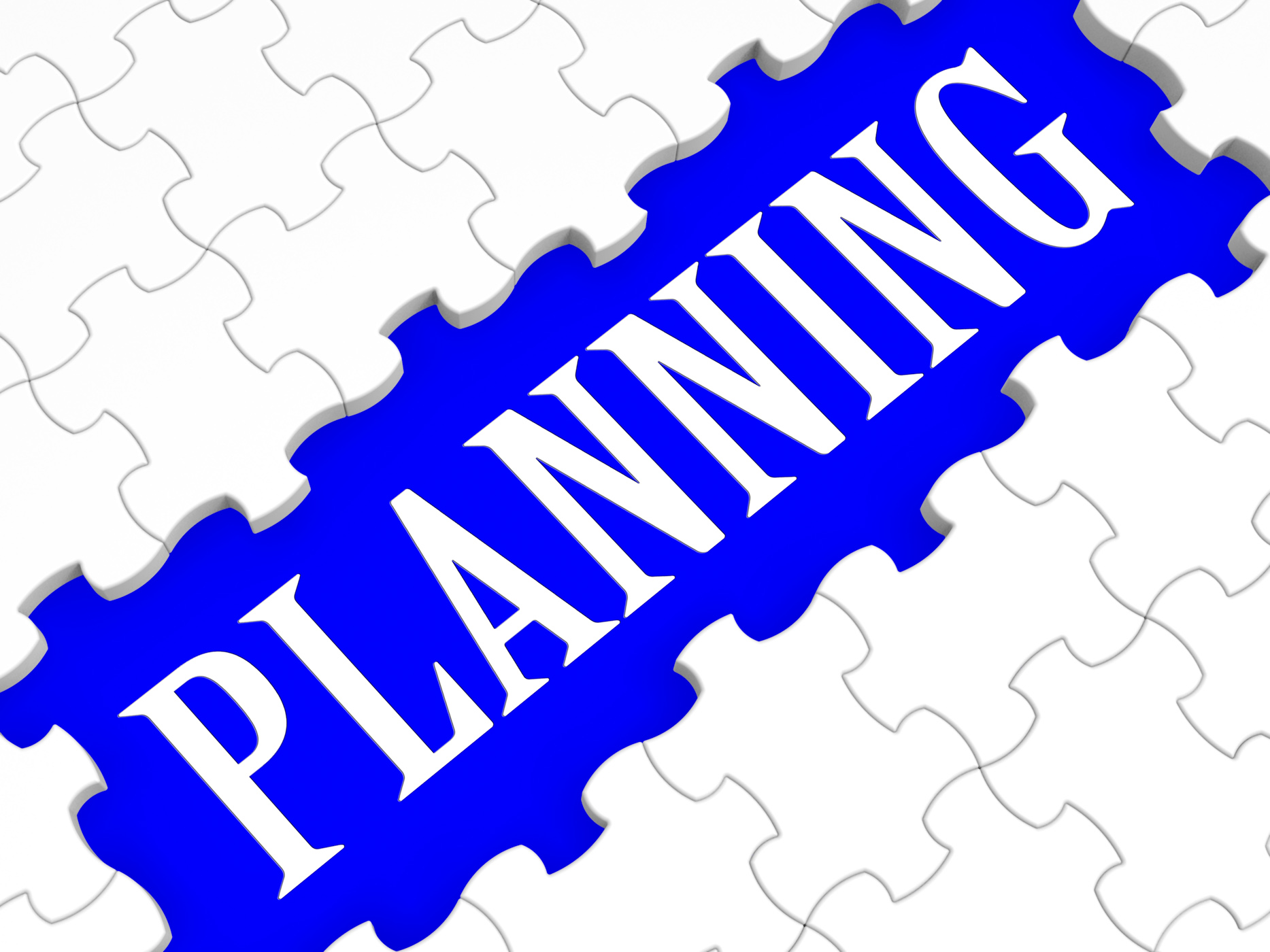 Planning puzzle showing intention and goals photo