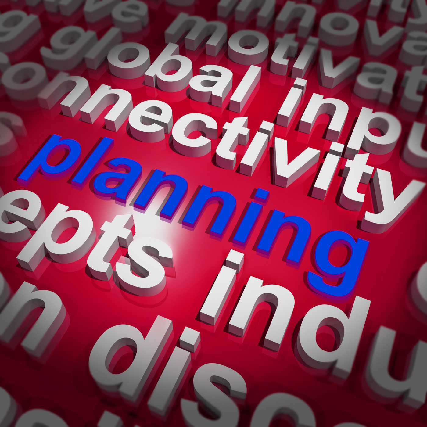 Planning word cloud shows objectives plan and organize photo