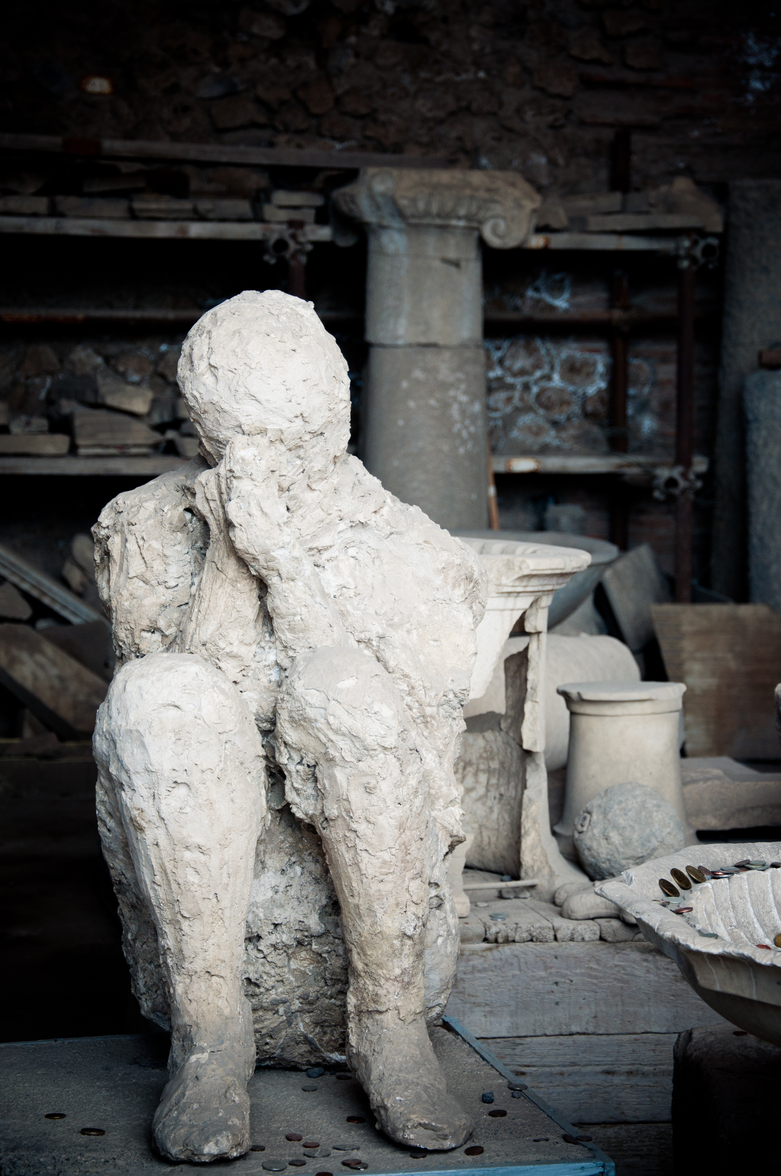 Plaster cast of a pompeii chariot driver photo
