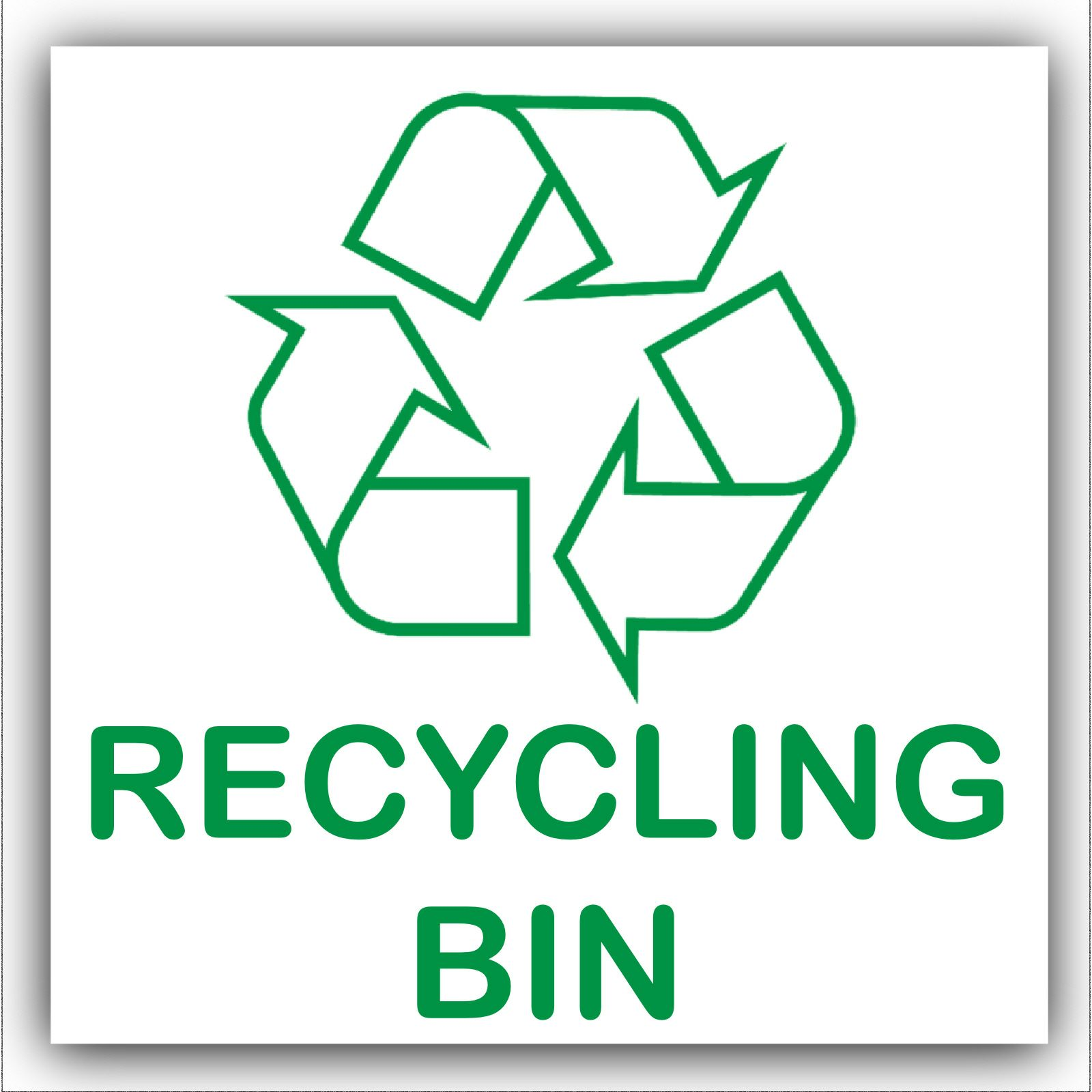 1 x Recycling Bin Self Adhesive Sticker-Recycle Logo Sign ...