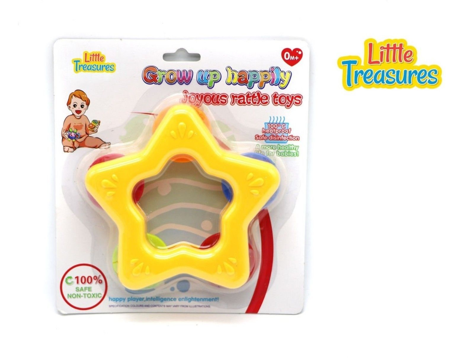 Little Treasures Baby Tether Rattle Toy Star-shaped Tambourine Grow ...