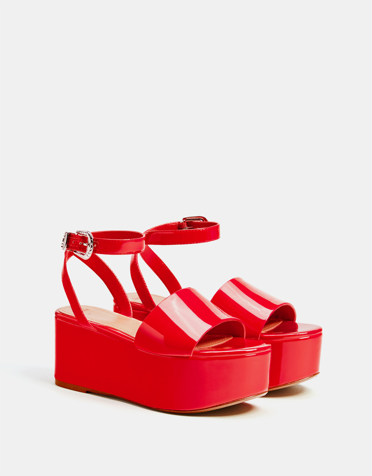 Red faux patent leather platform sandals - Wedges - Bershka United ...