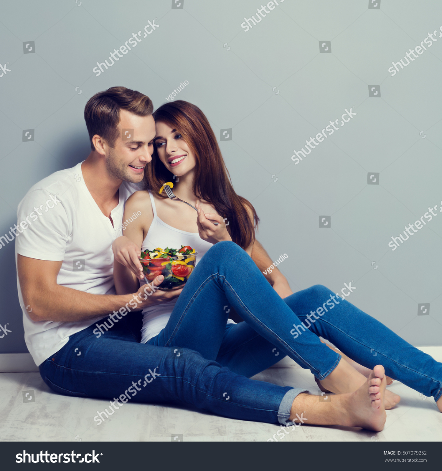 Beautiful Young Playful Couple Eating Salad Stock Photo 507079252 ...