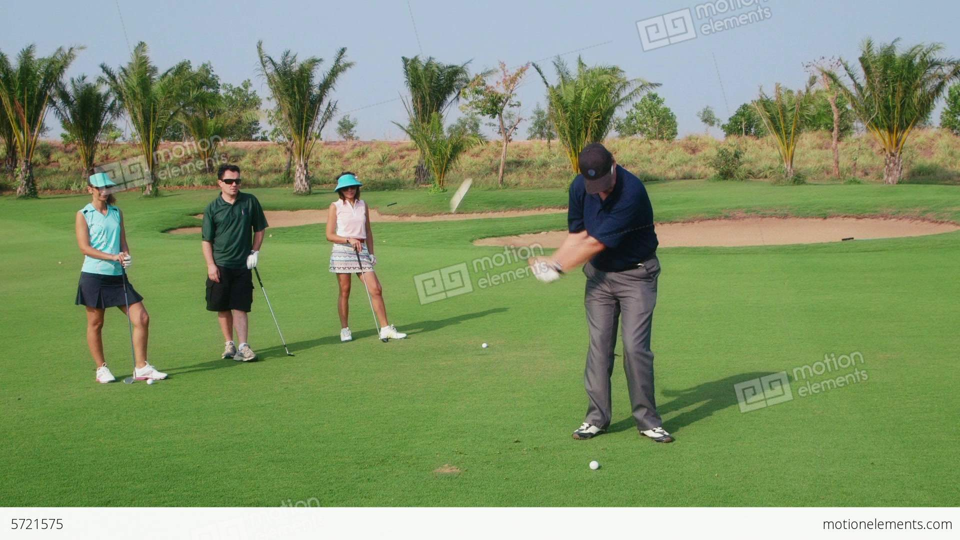 Men And Women Playing Golf In Country Club Stock video footage | 5721575