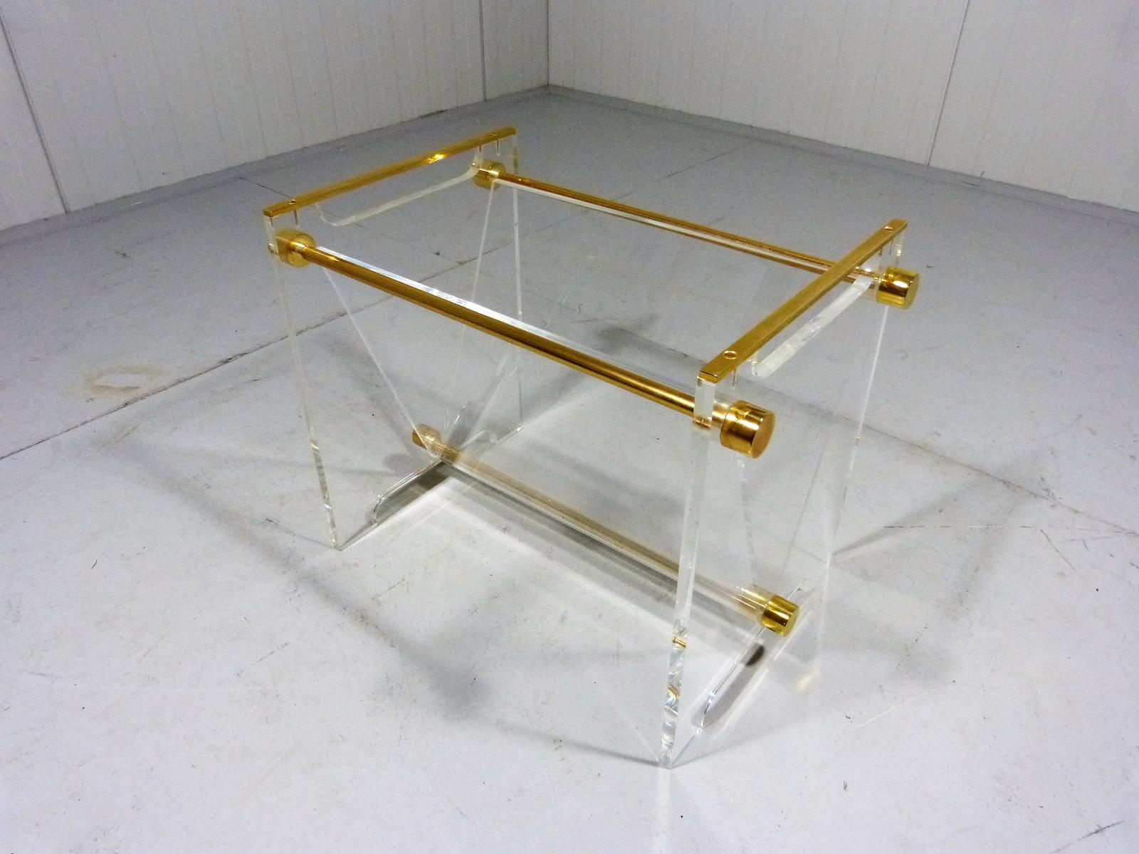Vintage Plexiglass & Brass Magazine Holder for sale at Pamono