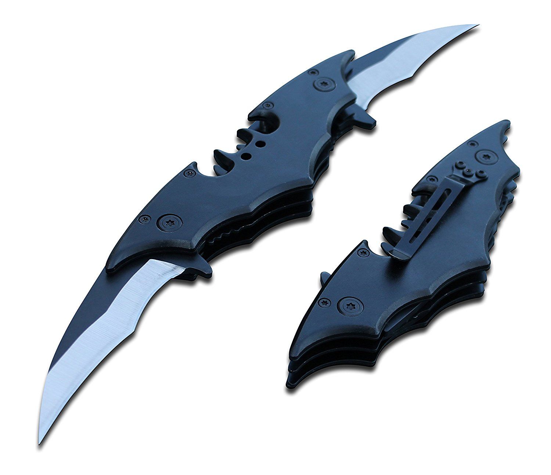 Amazon.com : Batman Bat Folding Dual Twin Double Blade Spring ...