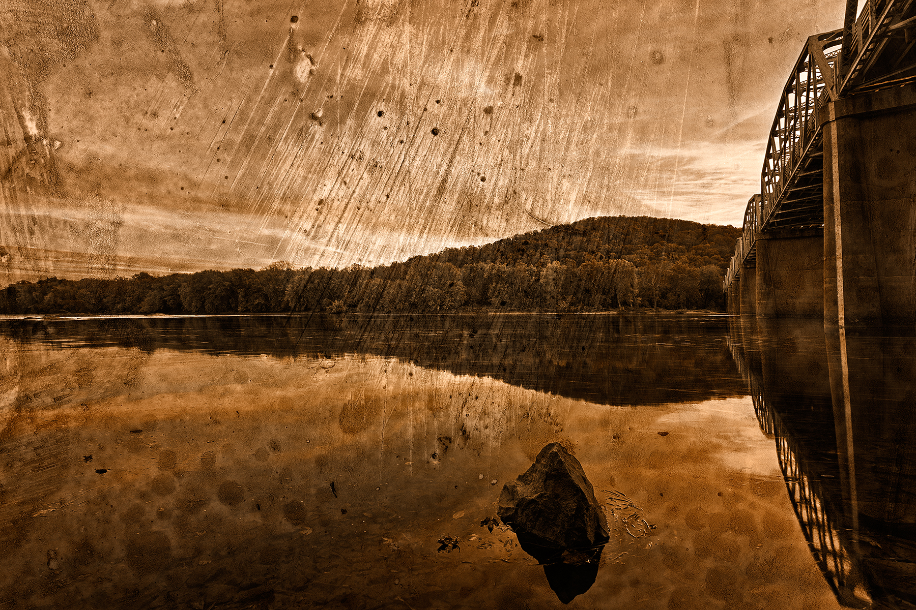 Point of rocks - sepia grunge photo