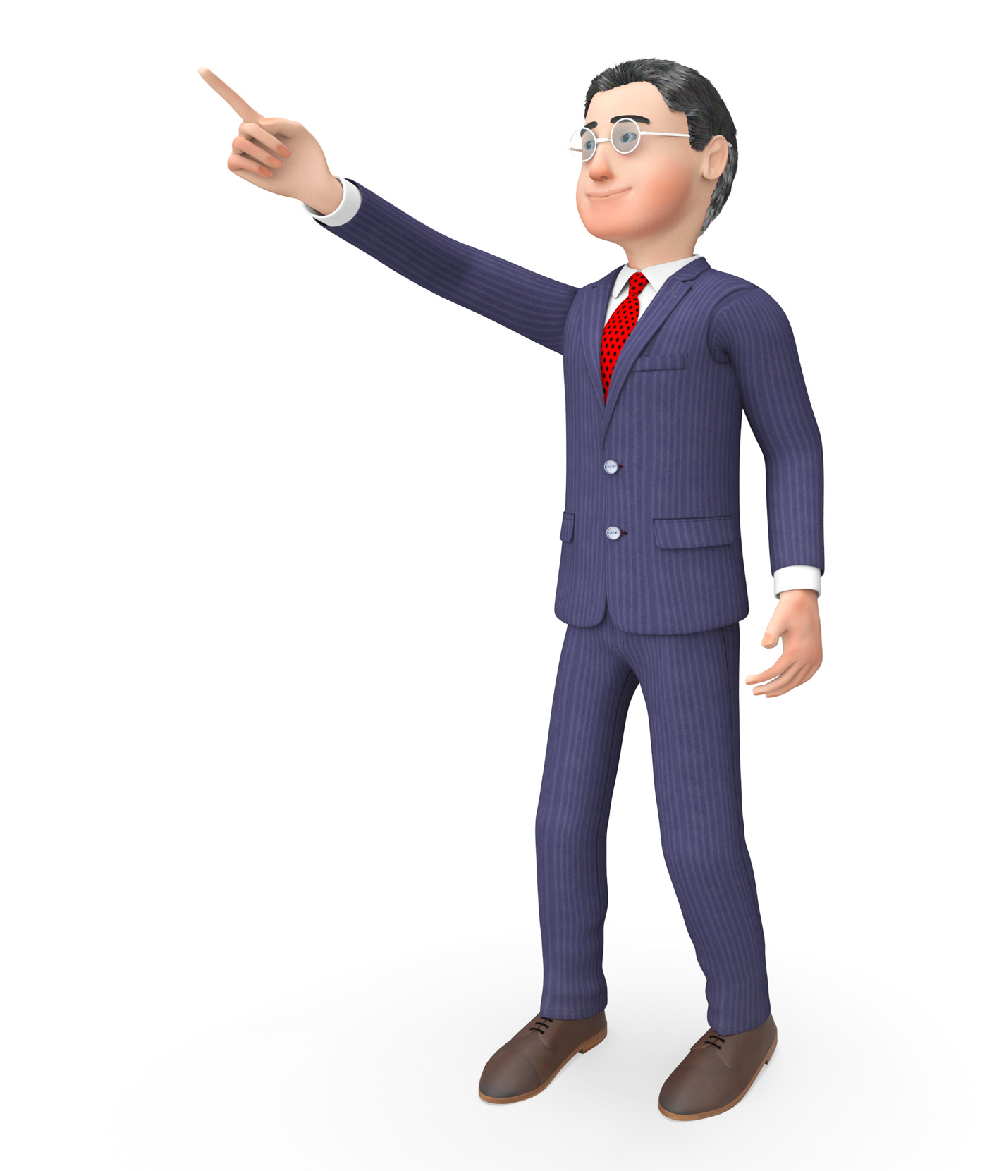 Pointing character means hand up and commercial 3d rendering photo
