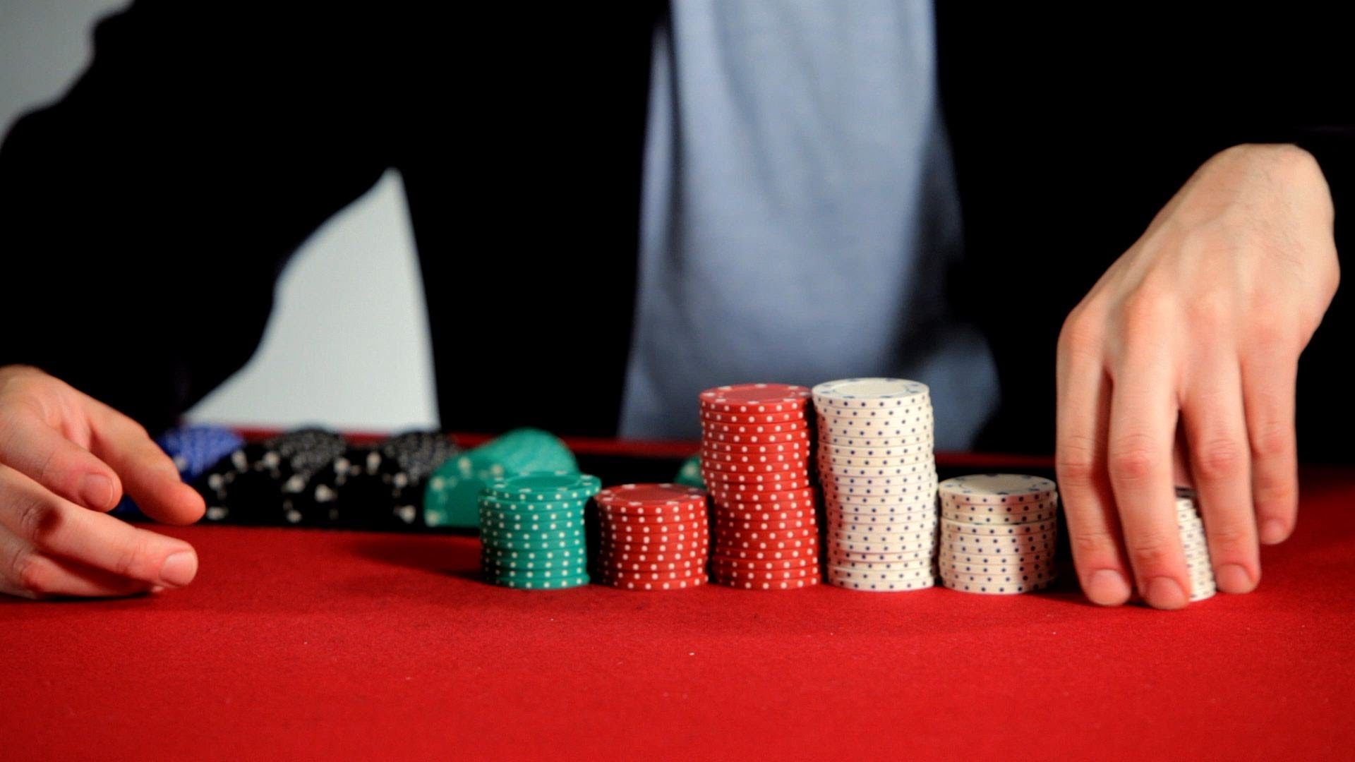Poker chip stacks photo