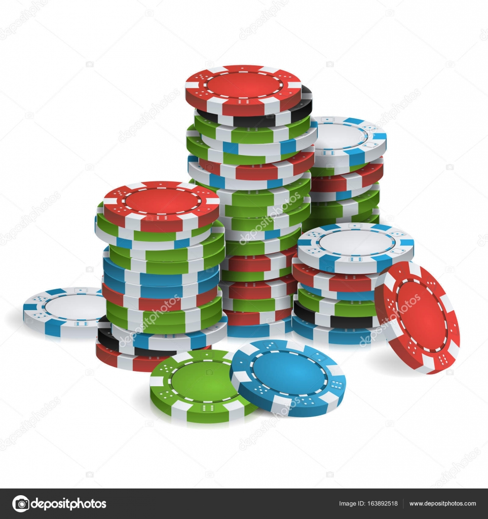 Gambling Poker Chips Stacks Vector. Realistic. Classic Colored Poker ...