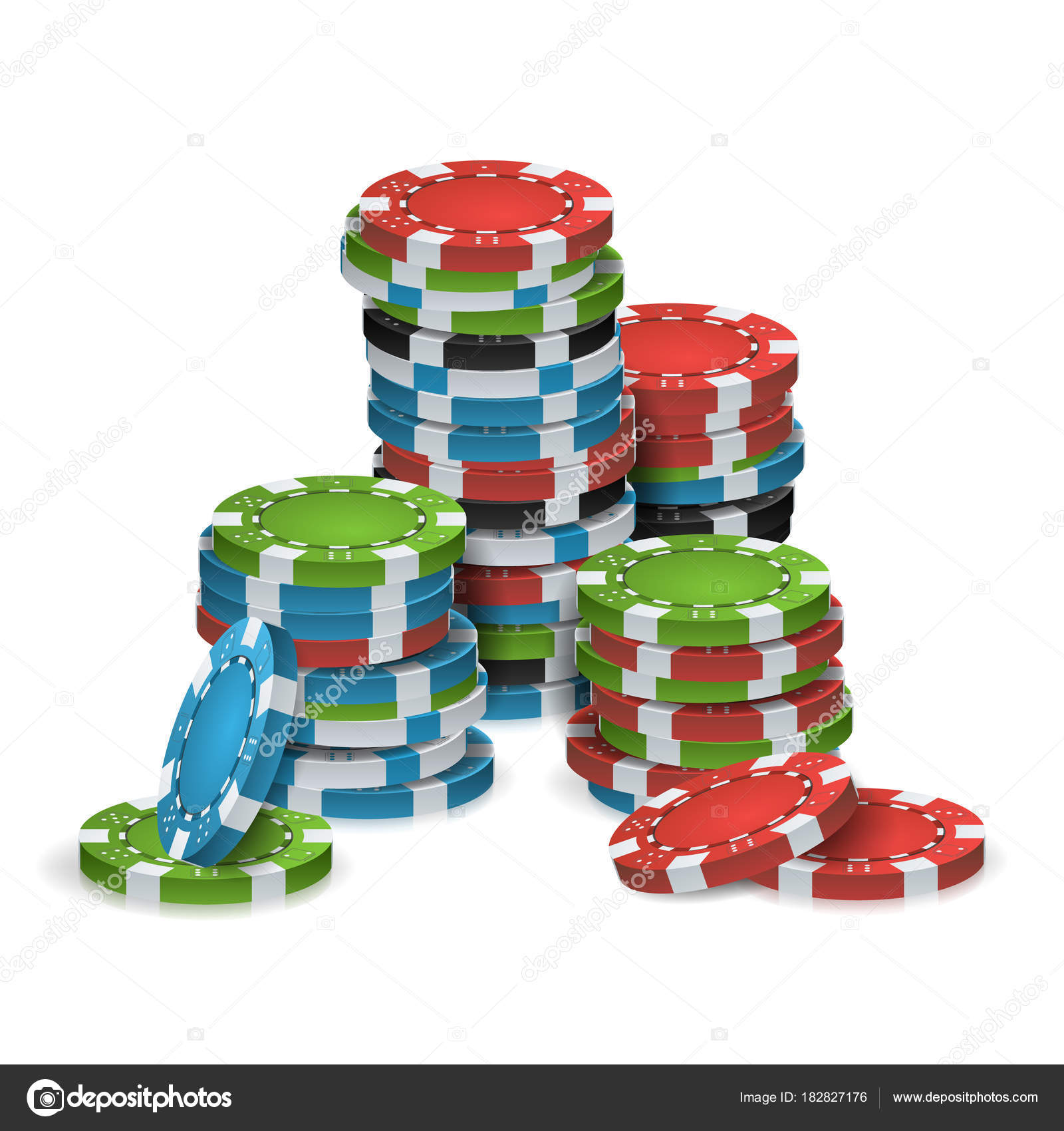 Poker Chips Stacks Vector. Plastic. White, Red, Black, Blue, Green ...