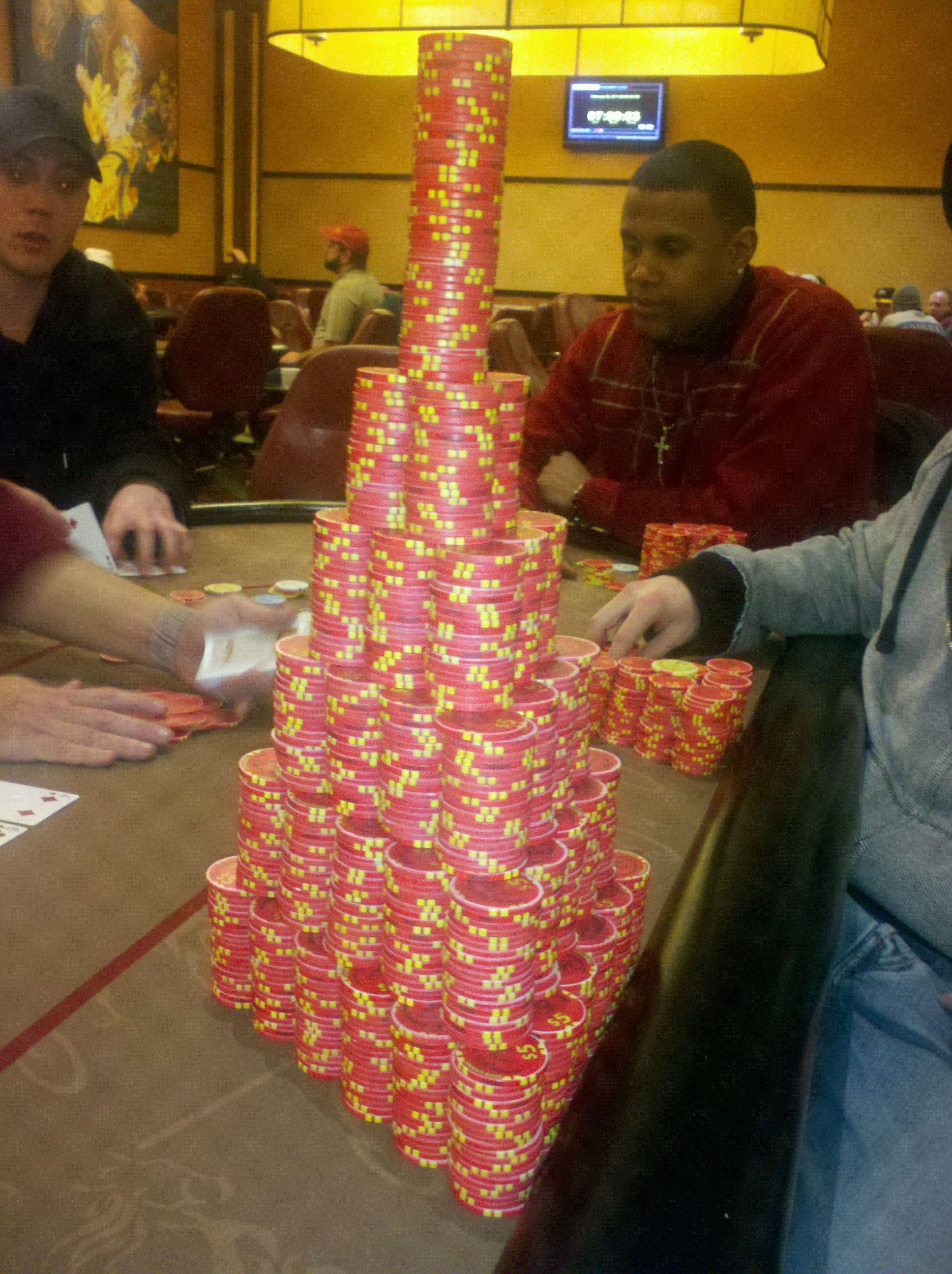 Huge poker chip stack / Gambling day
