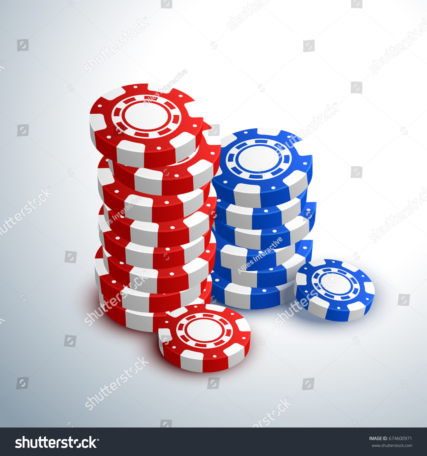 3d Poker Chips Stacks On Shiny Stock Vector 674600971 - Shutterstock