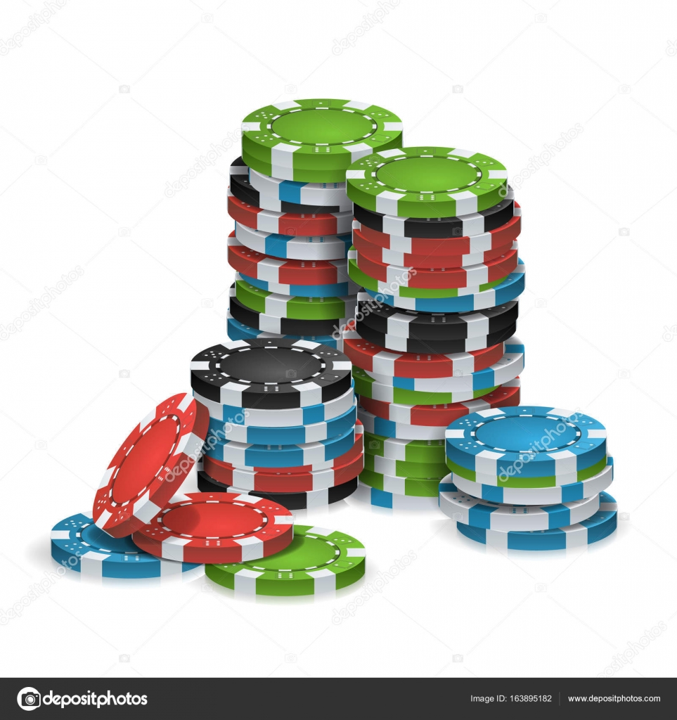 Casino Chips Stacks Isolated Vector. Realistic. White, Red, Black ...