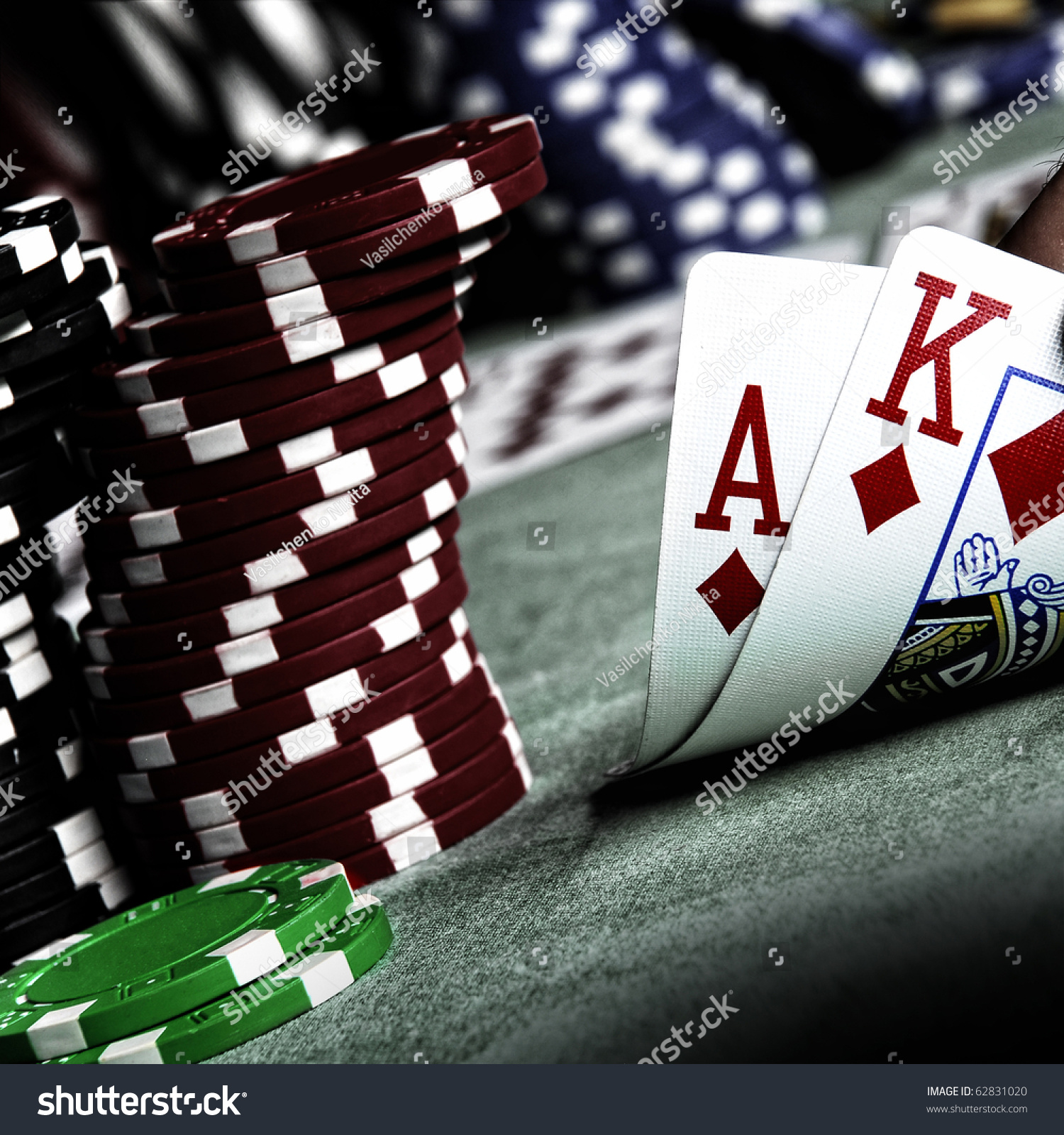 Ace King Poker Chips Stack Stock Photo (Royalty Free) 62831020 ...