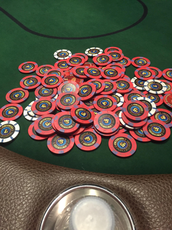 Poker chip stacks photo