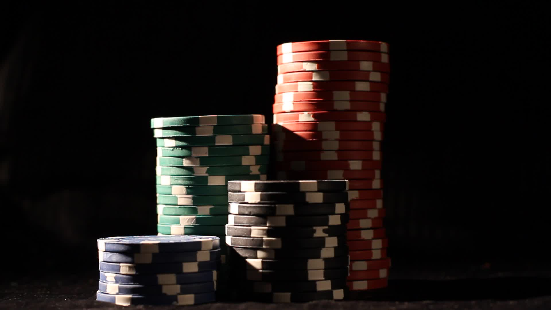 Poker Chips Stacked ~ Hi Res Video #14615821