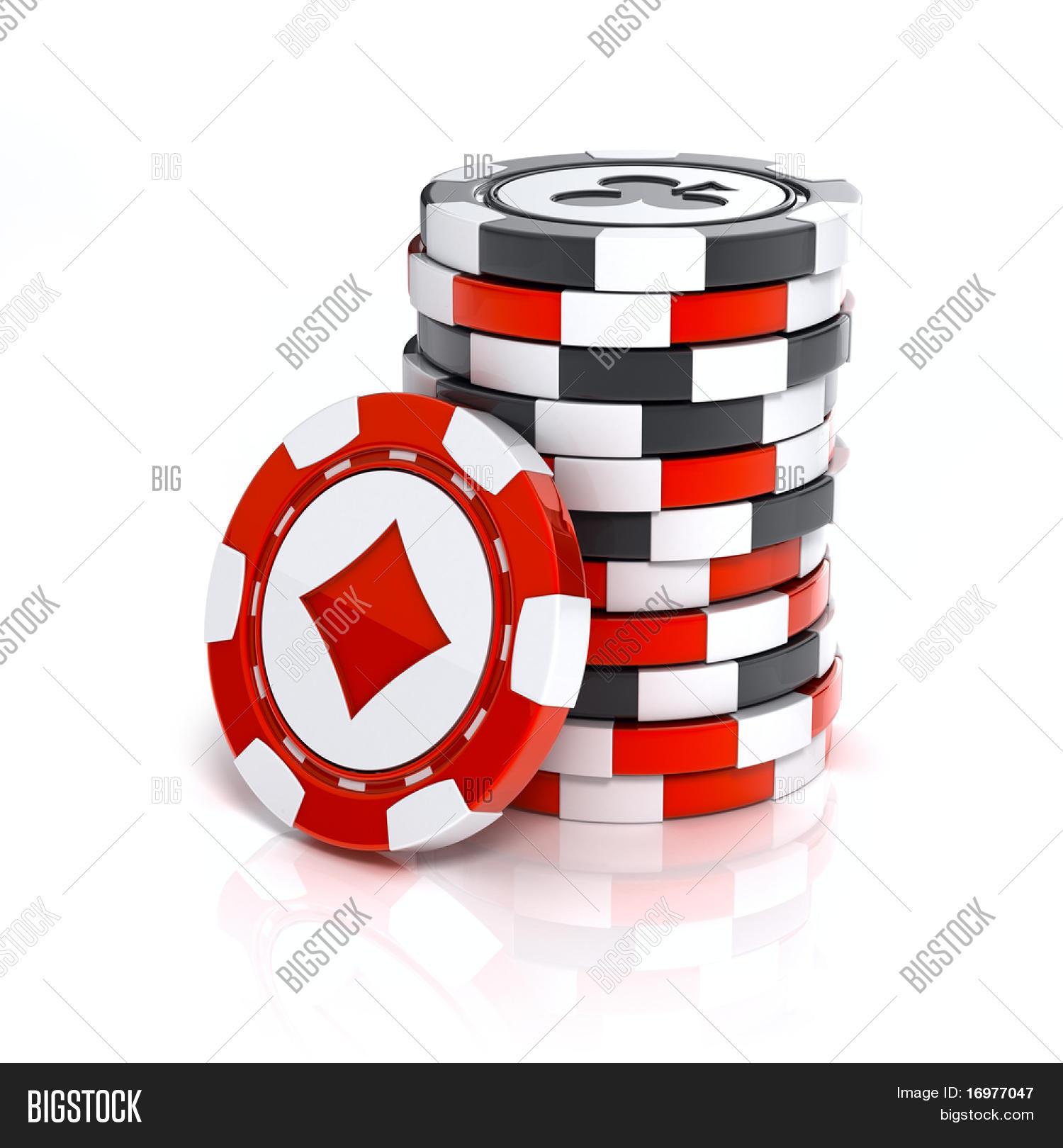 Casino Chip Stacks Over White Image & Photo | Bigstock