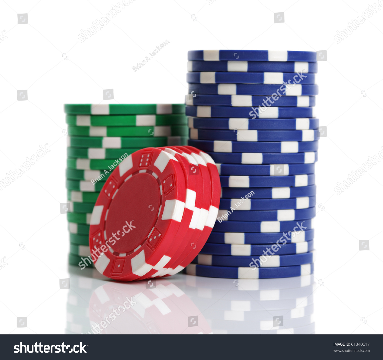 Casino Chip Stacks On White Background Stock Photo 61340617 ...