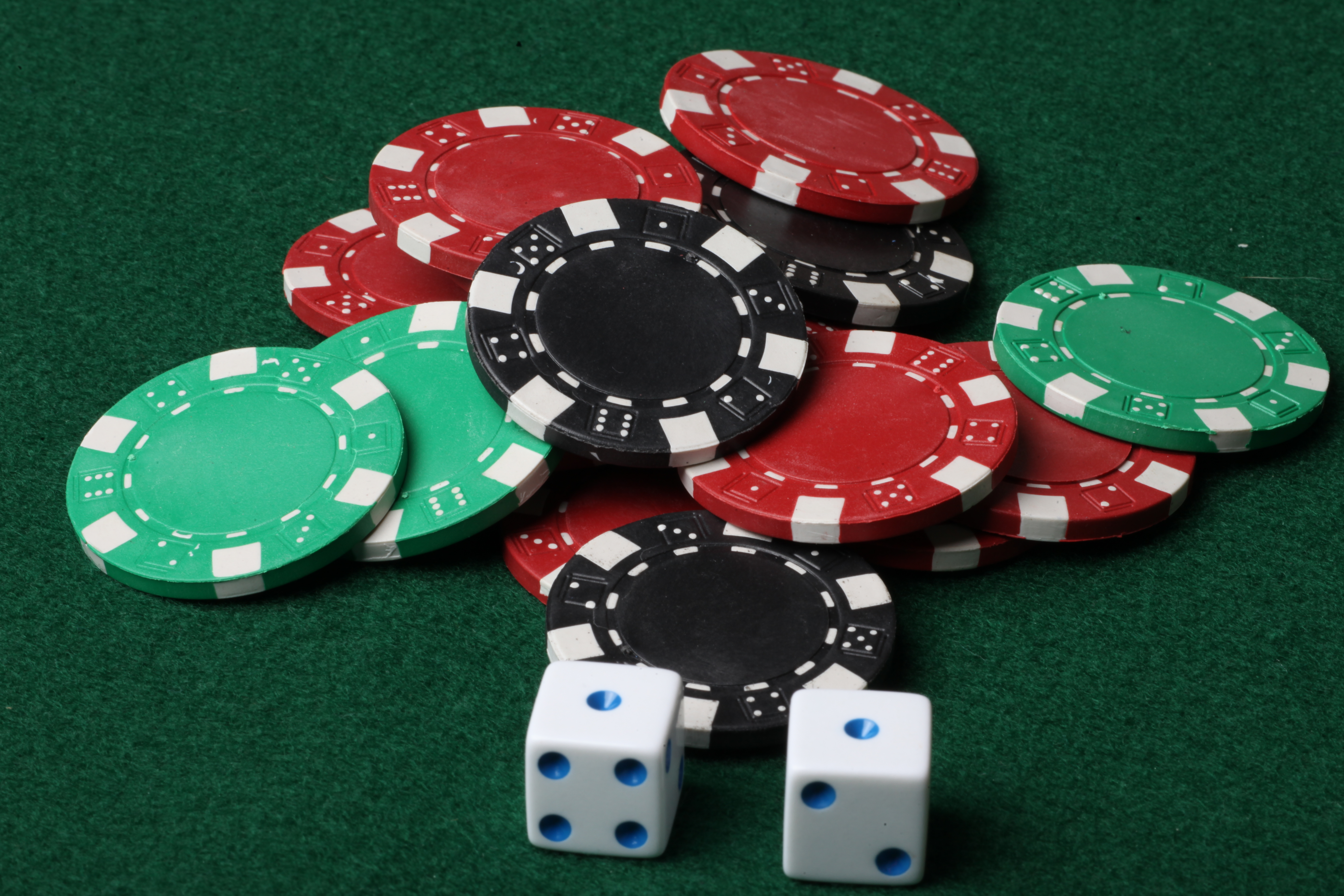 Poker chips and dice photo