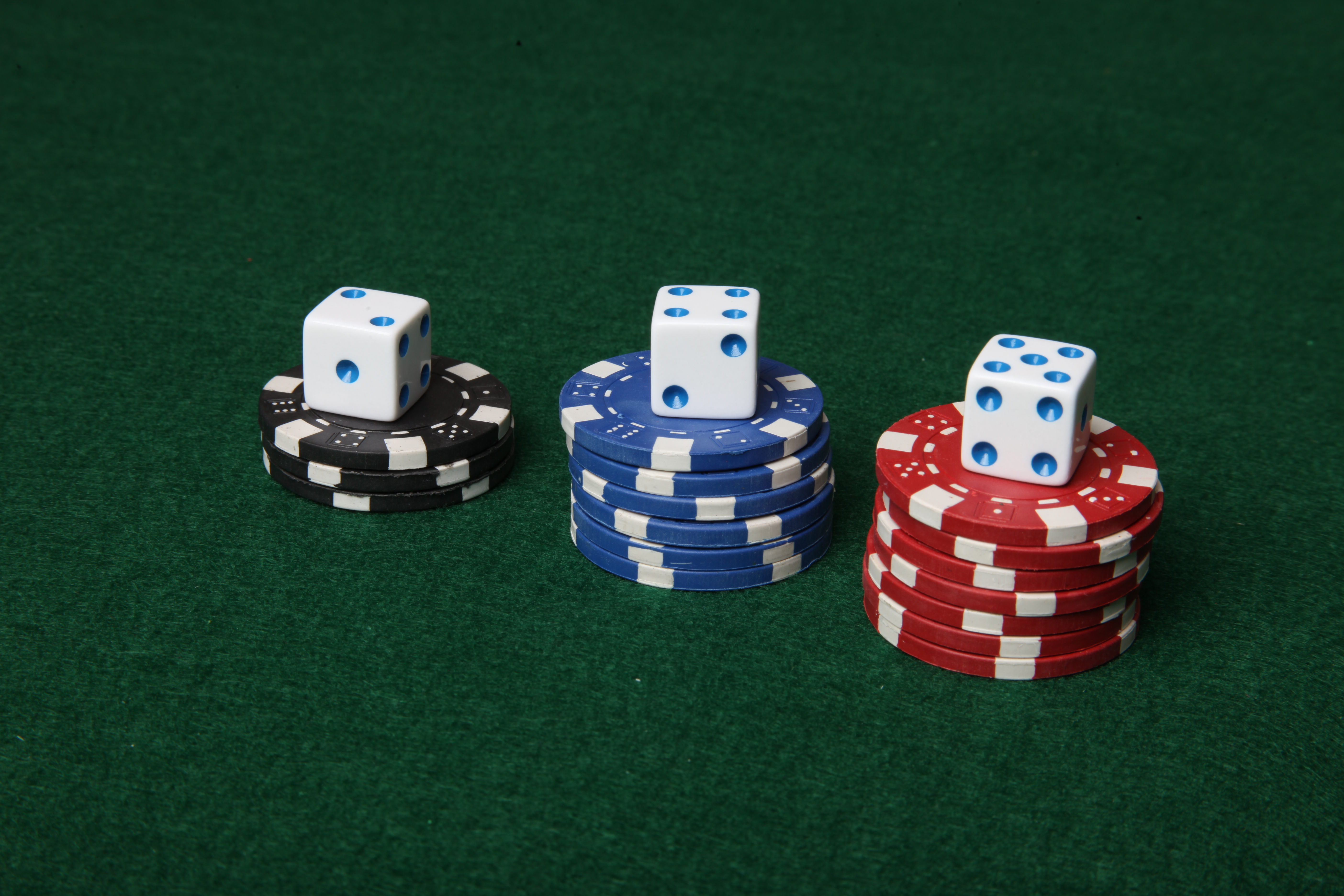 Poker chips and dice. photo