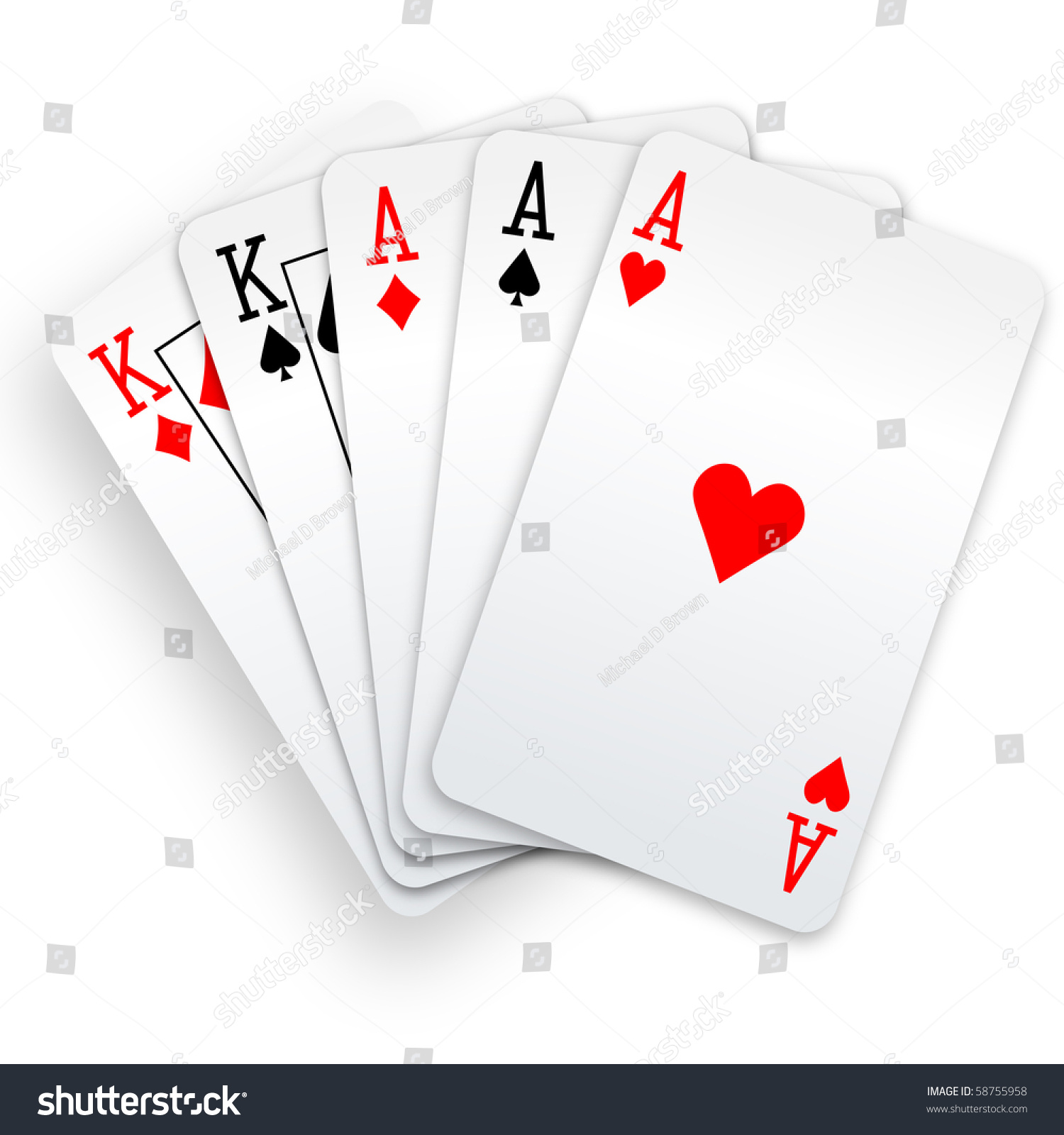 Royalty-free A Poker Hand Full House three Aces and… #58755958 Stock ...
