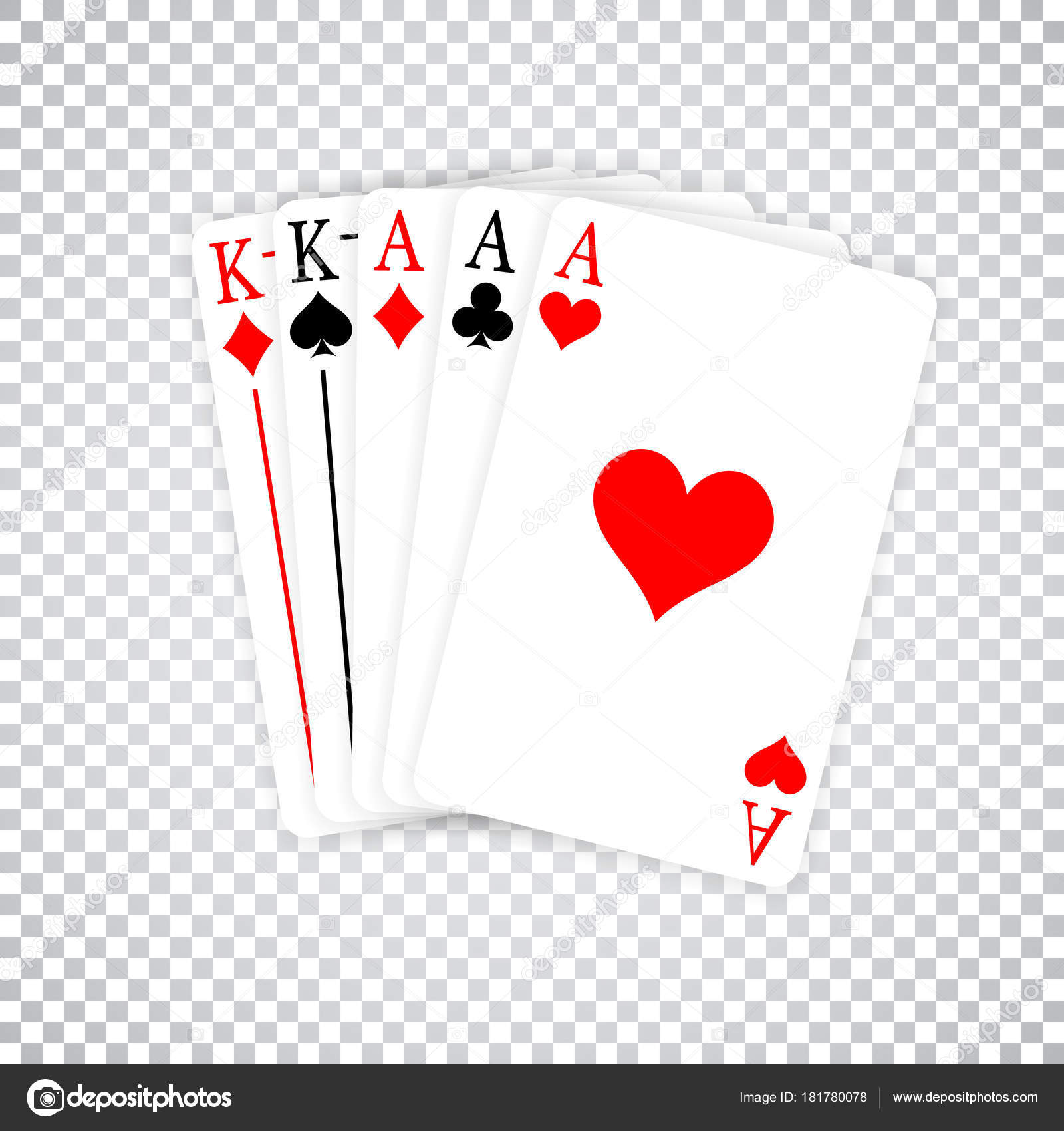 A Poker Hand Full House three Aces and pair of Kings playing cards ...