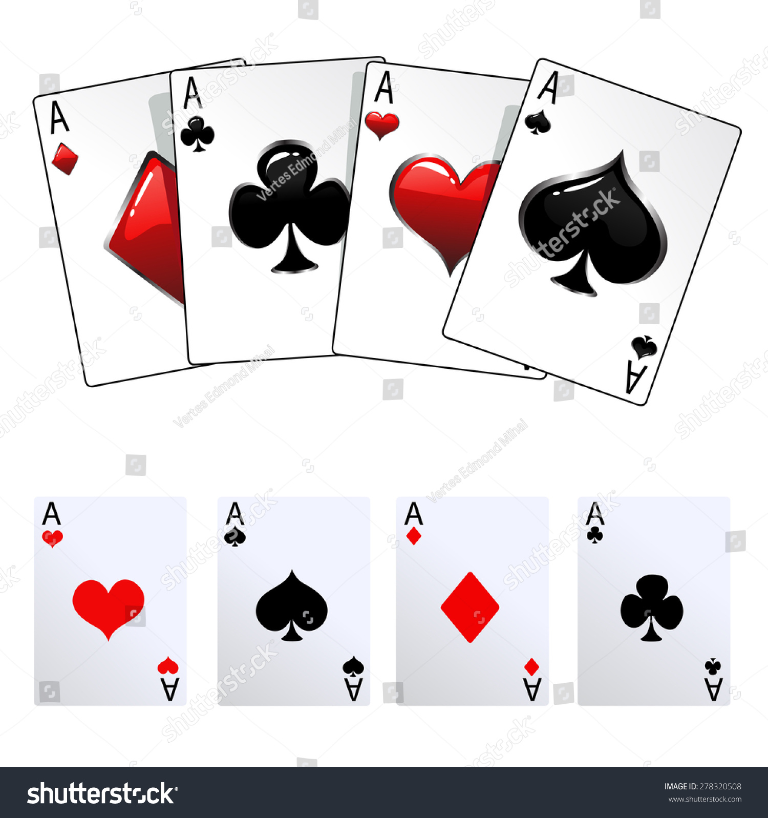 Winning Poker Hand Four Aces Playing Stock Vector HD (Royalty Free ...