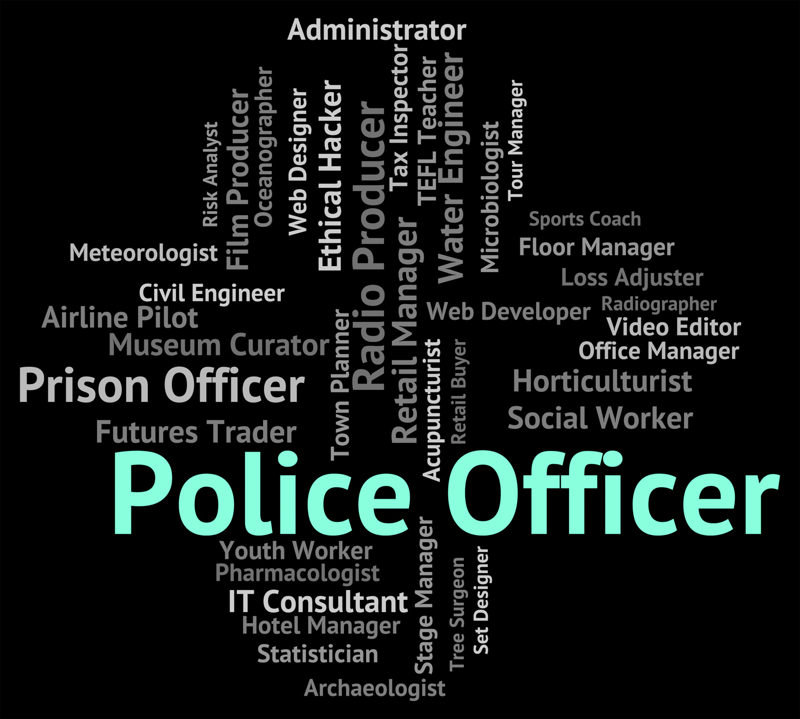 Police officer represents law enforcement and administrator photo