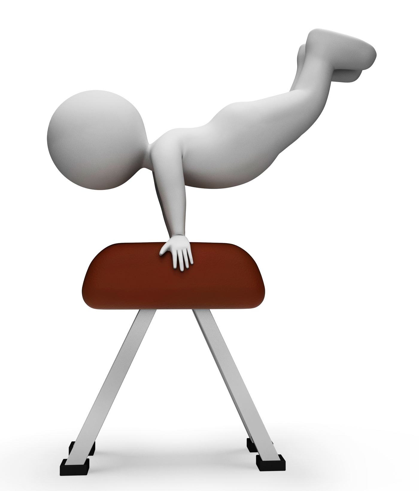 Pommel Horse Means Physical Activity And Apparatus 3d Rendering, 3drendering, Physicalactivity, Man, Muscle, HQ Photo