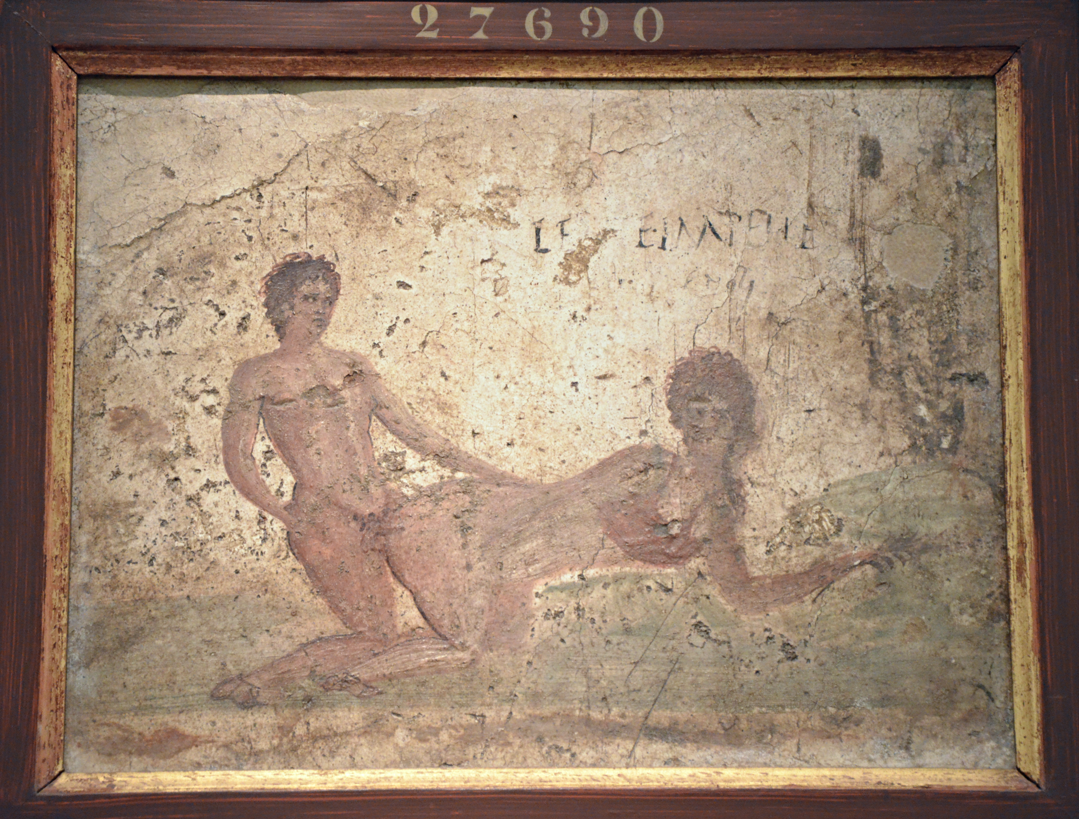 File:Fragment of wall painting with erotic scene, from Pompeii ...