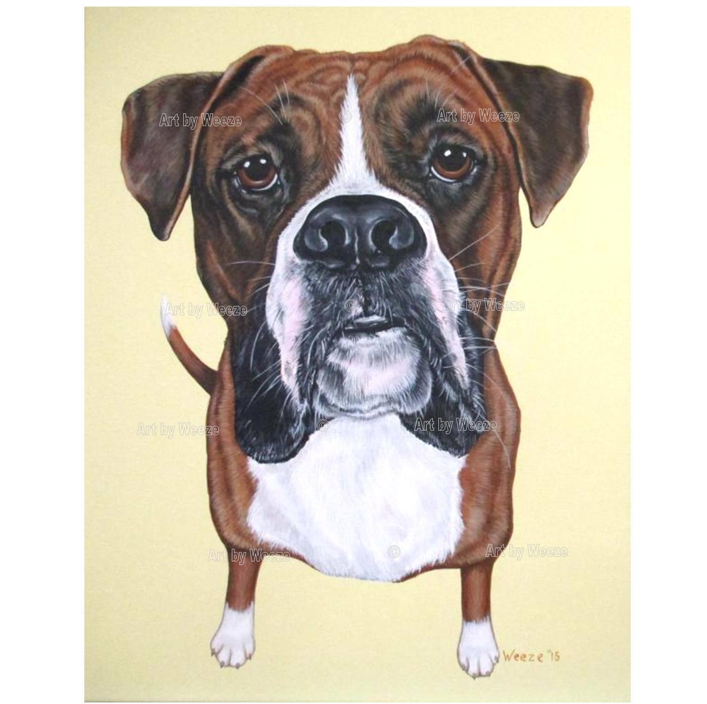 Boxer Painting Boxer Art Boxer Portrait Boxer Dog