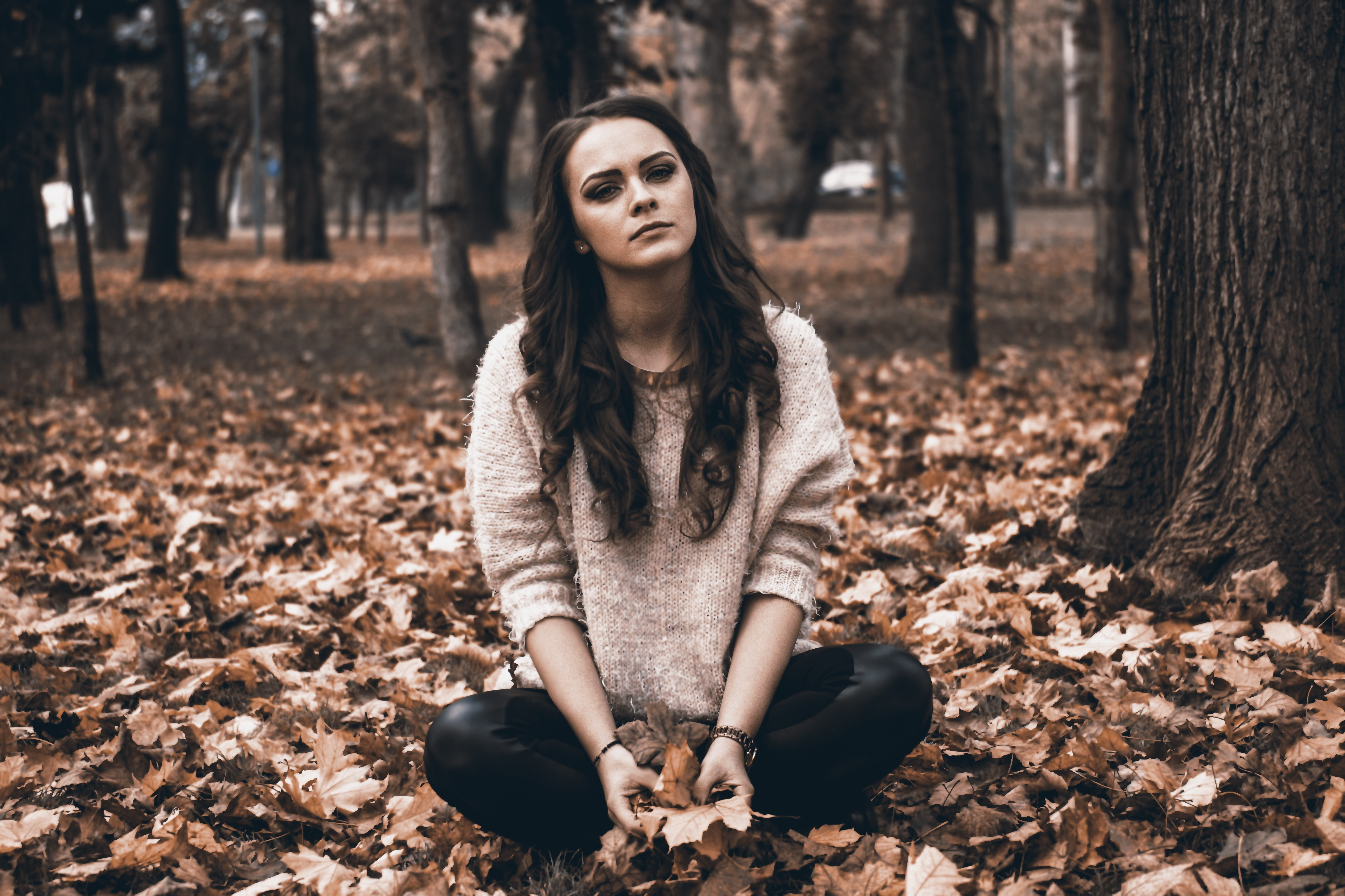 Portrait of a young woman in forest photo