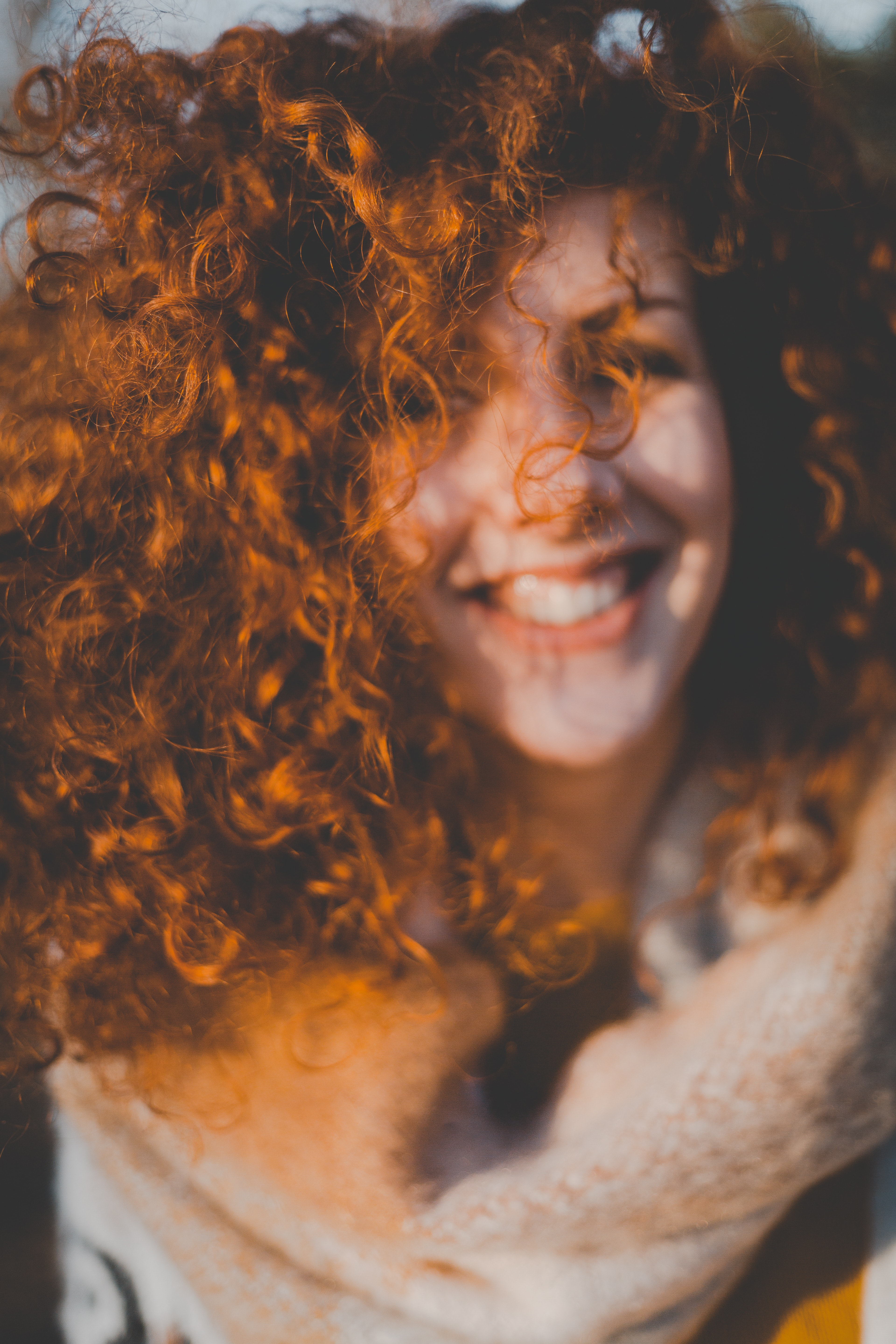 Portrait of curly haired girl photo