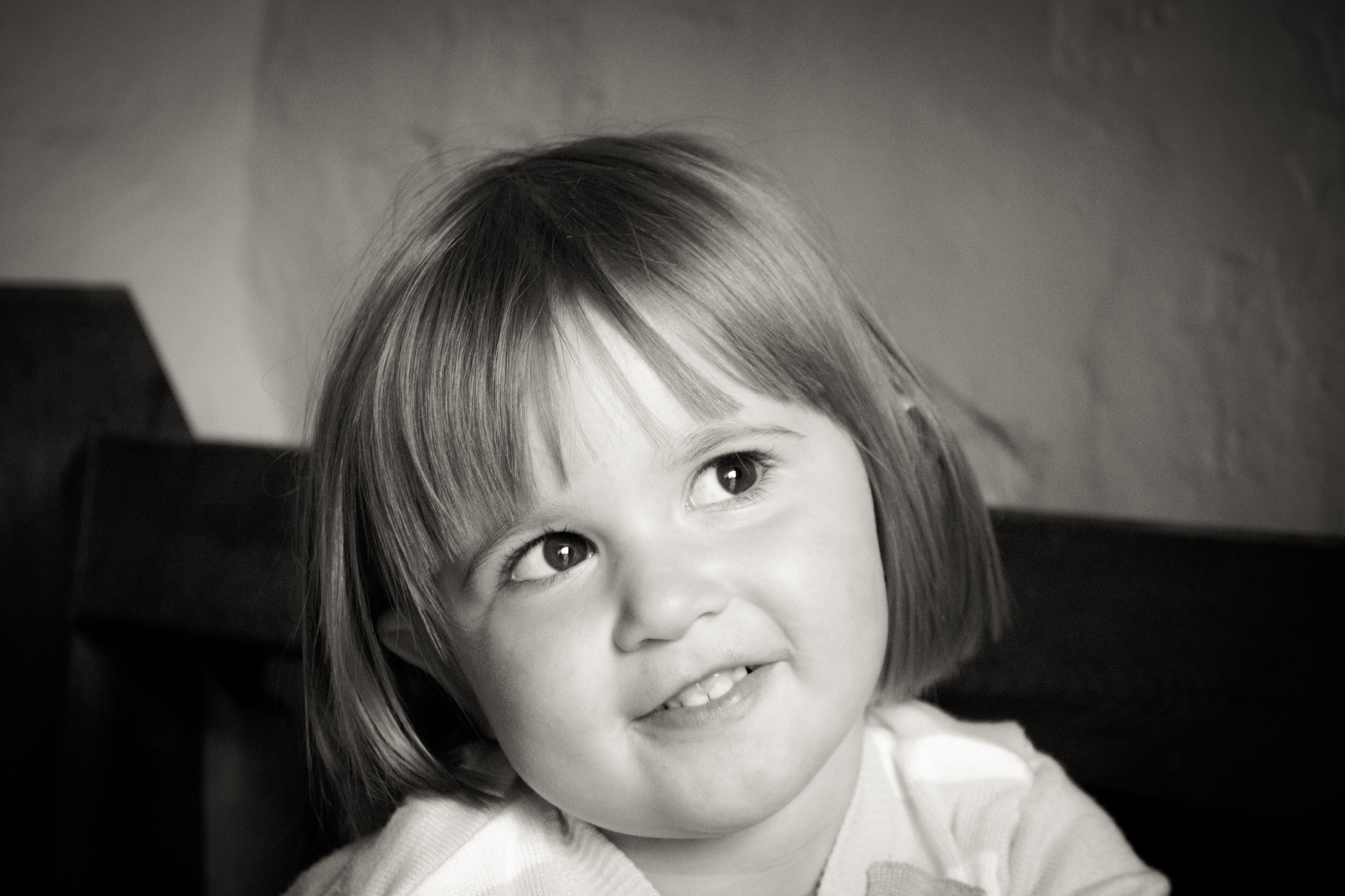Portrait of Smiling Girl With Short Hair in Grayscale Photography, Baby, Young, Toddler, Smile, HQ Photo