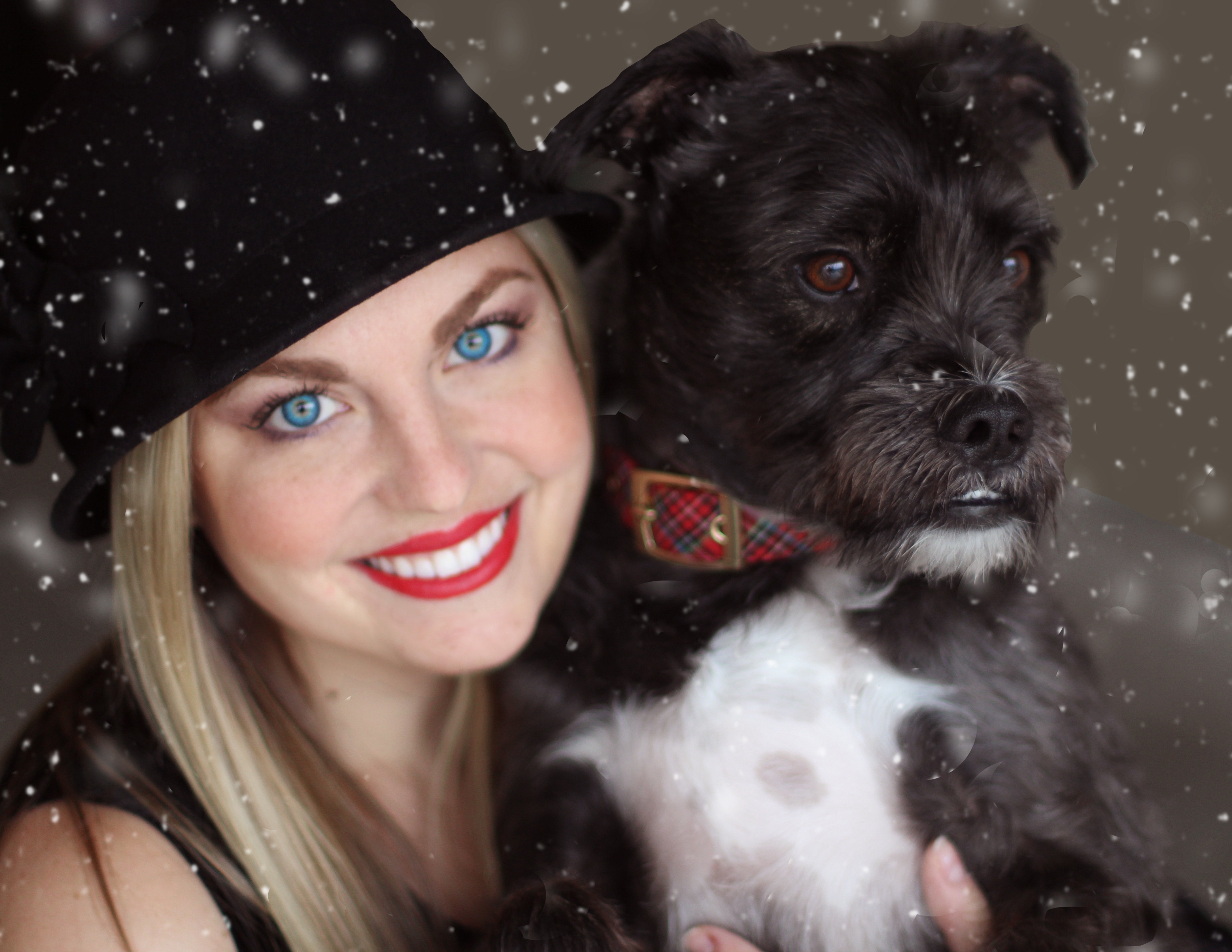 Portrait of Smiling Woman With Dog in Winter, Portrait, Puppy, Sit, Pet, HQ Photo