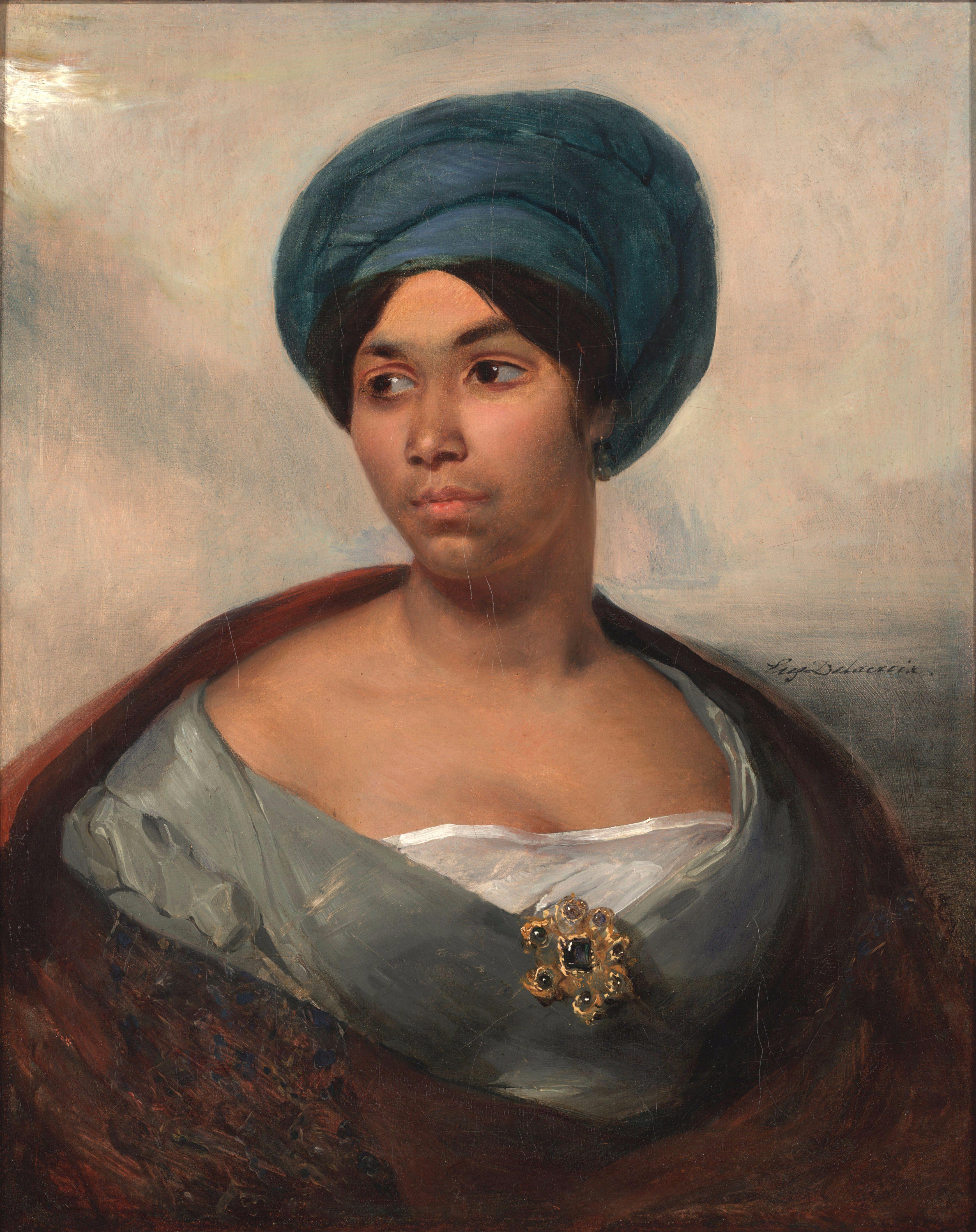 File:Portrait of a Woman in a Blue Turban by Eugène Delacroix.jpg ...