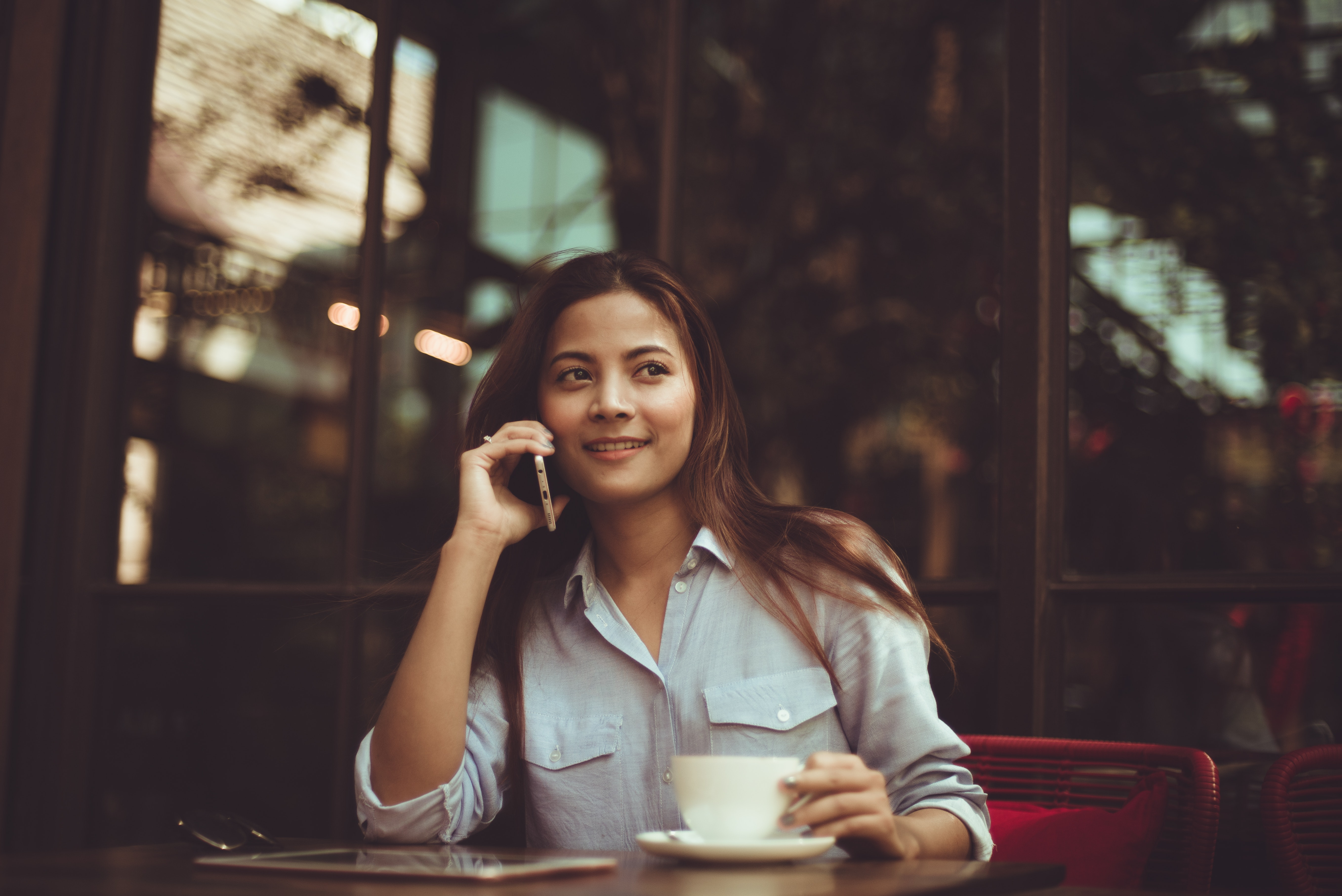 Portrait of Young Woman Using Mobile Phone in Cafe, Girl, Woman, Window, Tea, HQ Photo