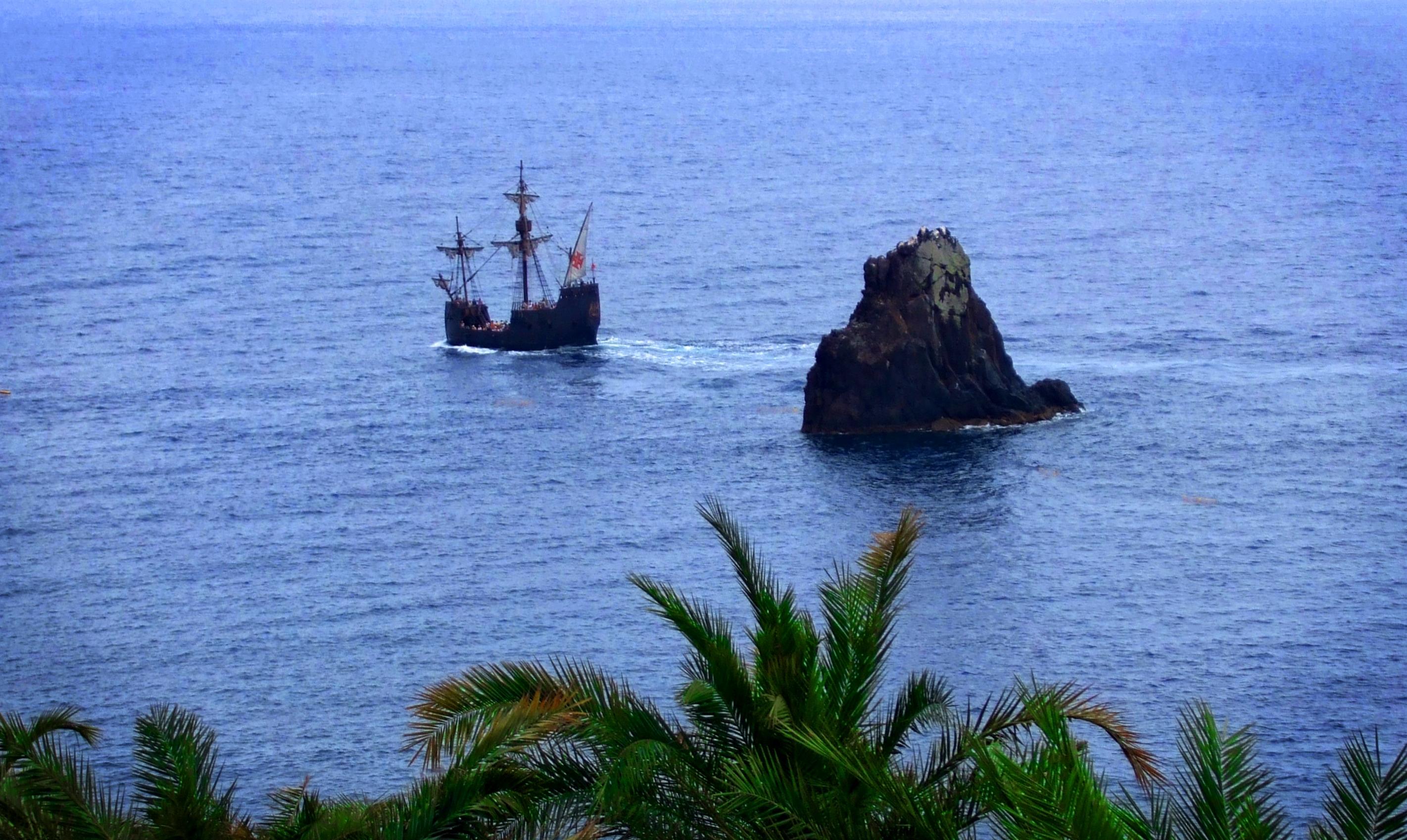 Portuguese caravel cruising the sea photo