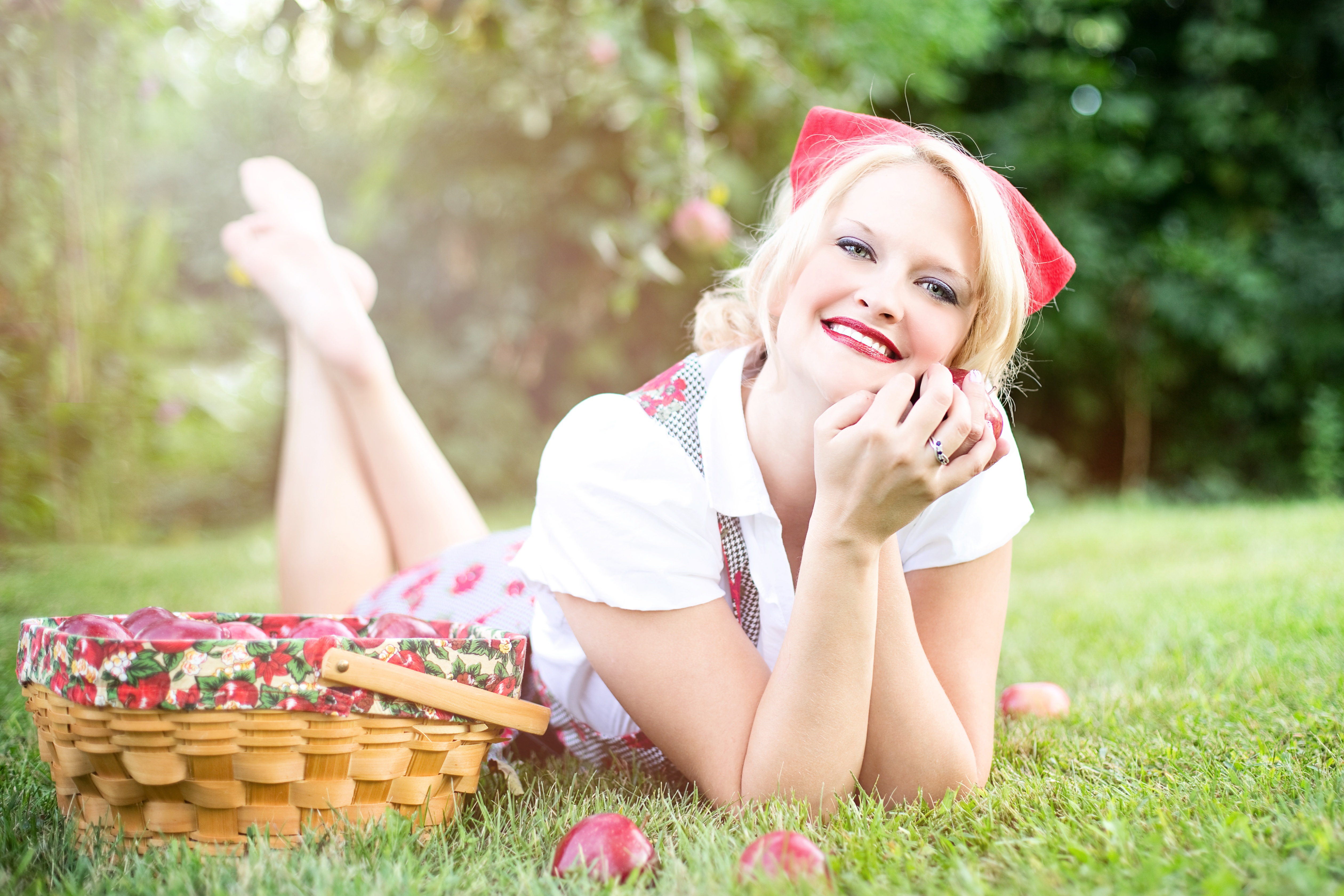 Posing with the apple basket photo