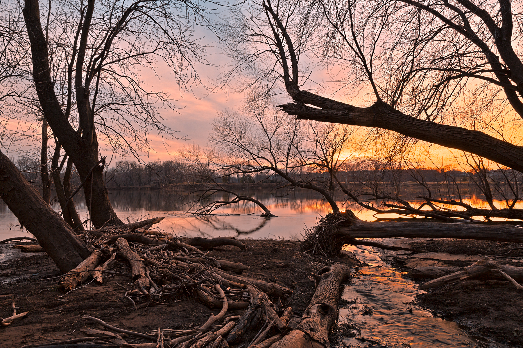 Potomac Sunset - HDR, America, Serene, Reflective, River, HQ Photo