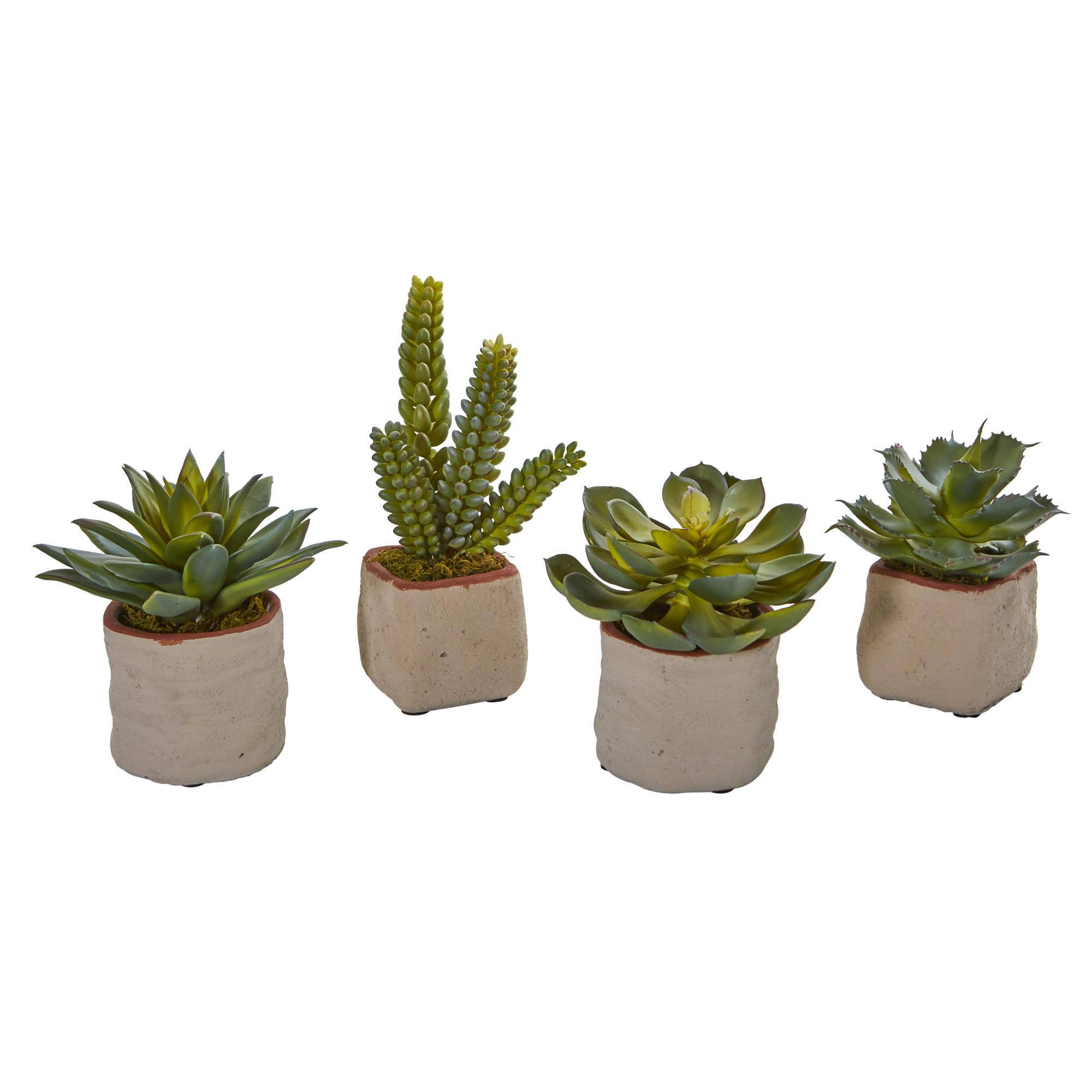 4 Artificial Potted Succulents, Potted Succulent Plants, Artificial ...
