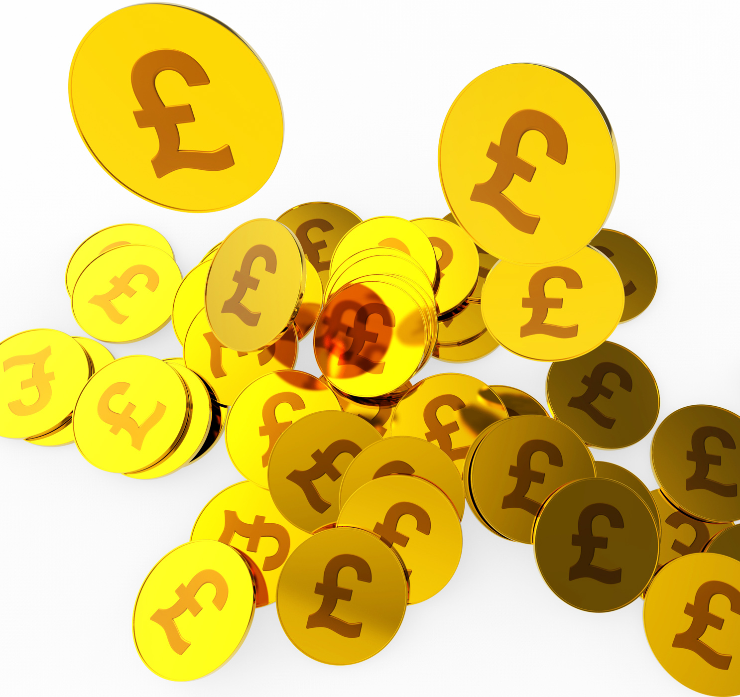 Pound coins means british pounds and finance photo