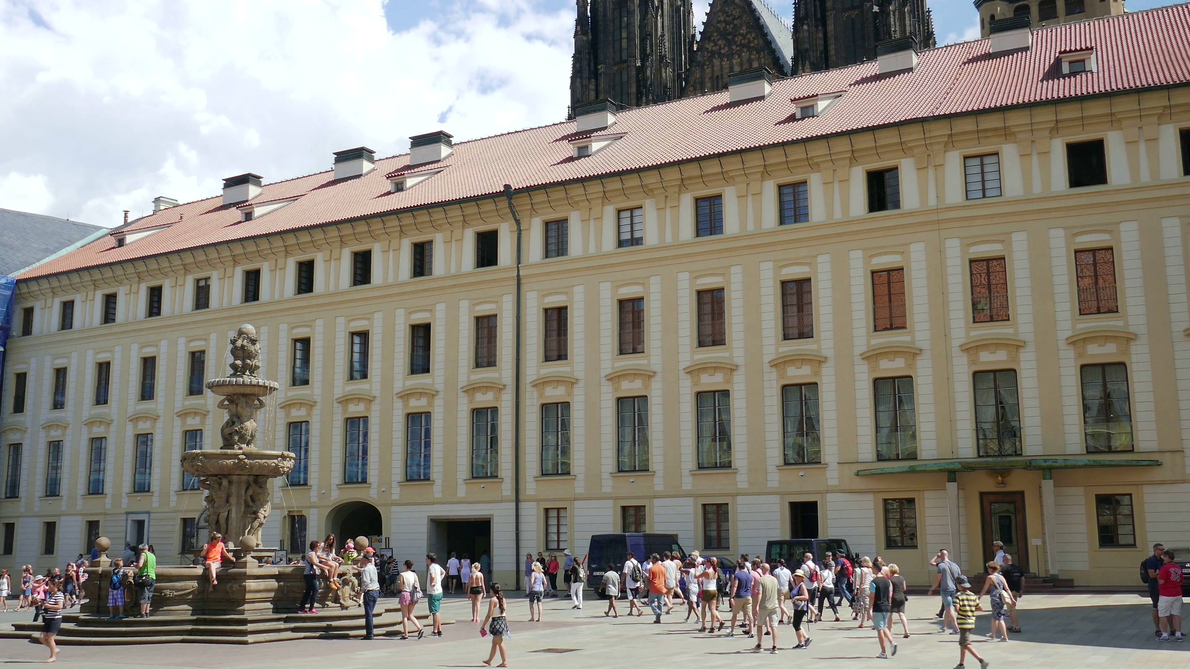 The Prague castle and the fountain at the courtyard Stock Video ...