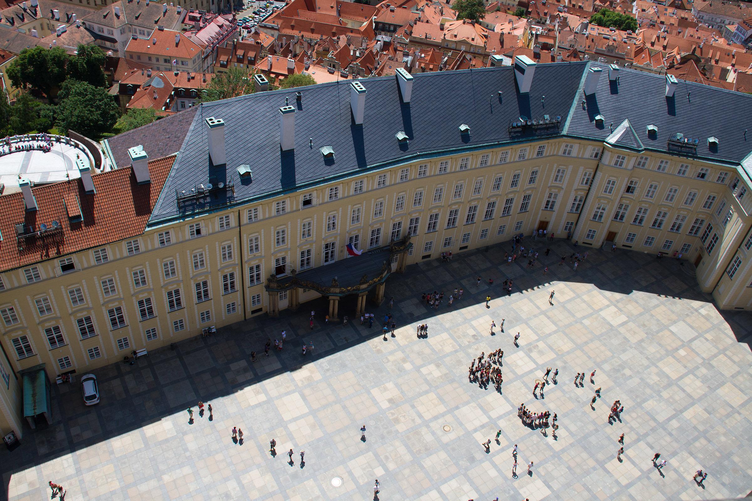 Prague Castle Courtyard, Above, People, Prague, Republic, HQ Photo