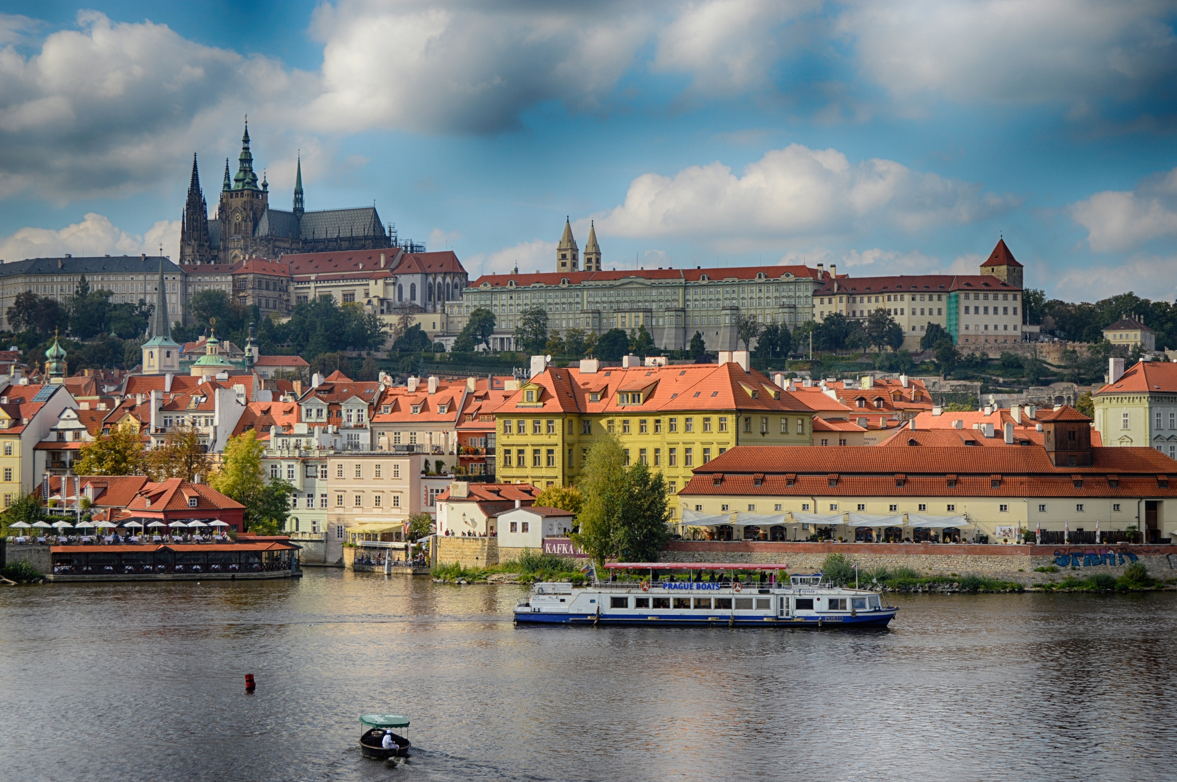 Prague castle view from the charles bridge in prague photo